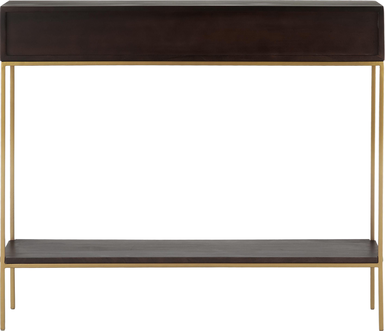 Massivholz Konsole Lyle mit offenen Fächern, Gestell: Metall, pulverbeschichtet, Mangoholz, dunkel lackiert, 105 x 89 cm