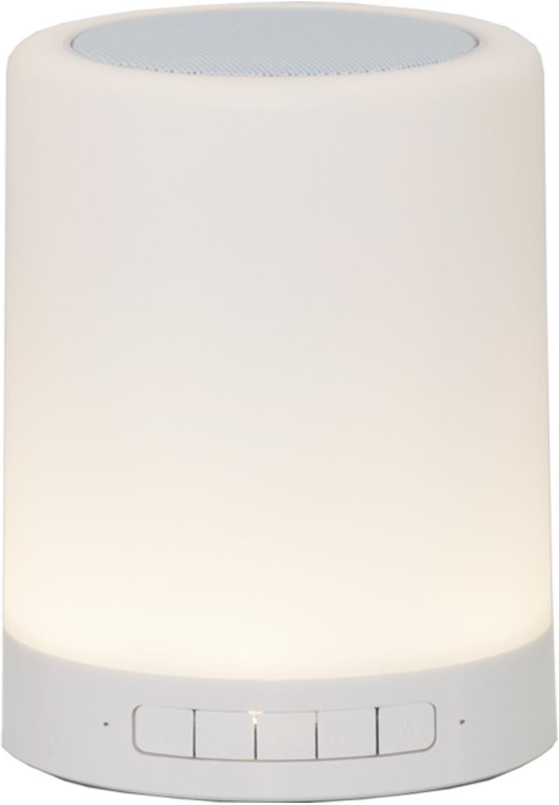 Mobiele outdoor LED lamp Loli met luidspreker, Metaal, kunststof (ABS), Wit, Ø 9 x H 13 cm