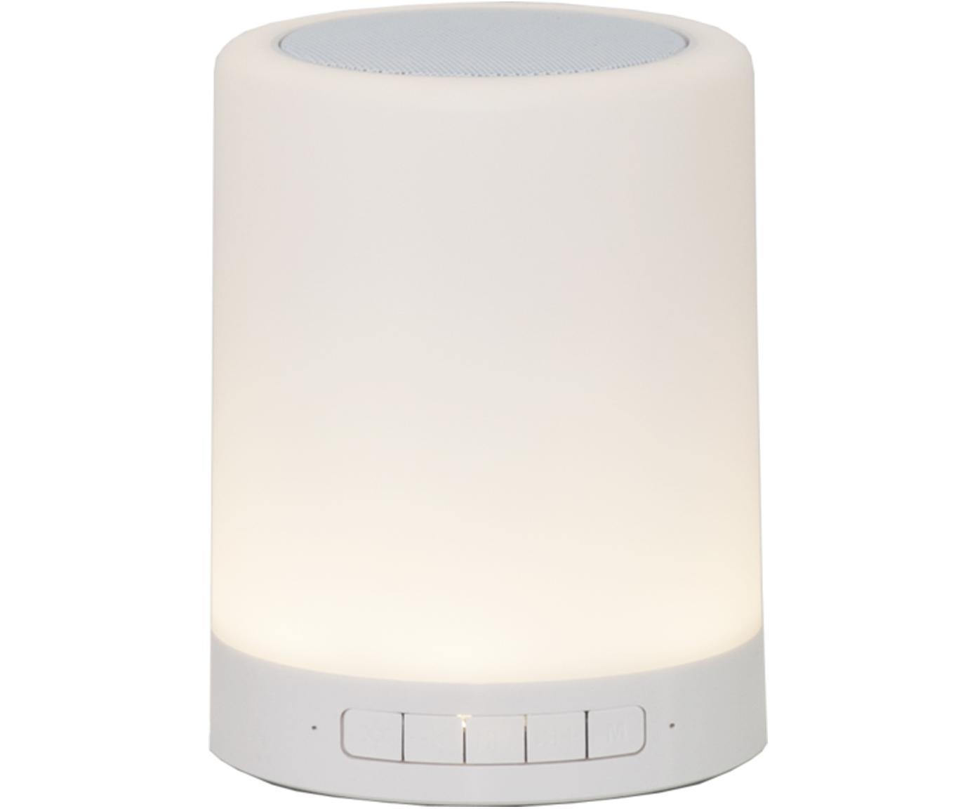 Zewnętrzna mobilna LED z głośnikiem Loli, Metal, tworzywo sztuczne (ABS), Biały, Ø 9 x W 13 cm