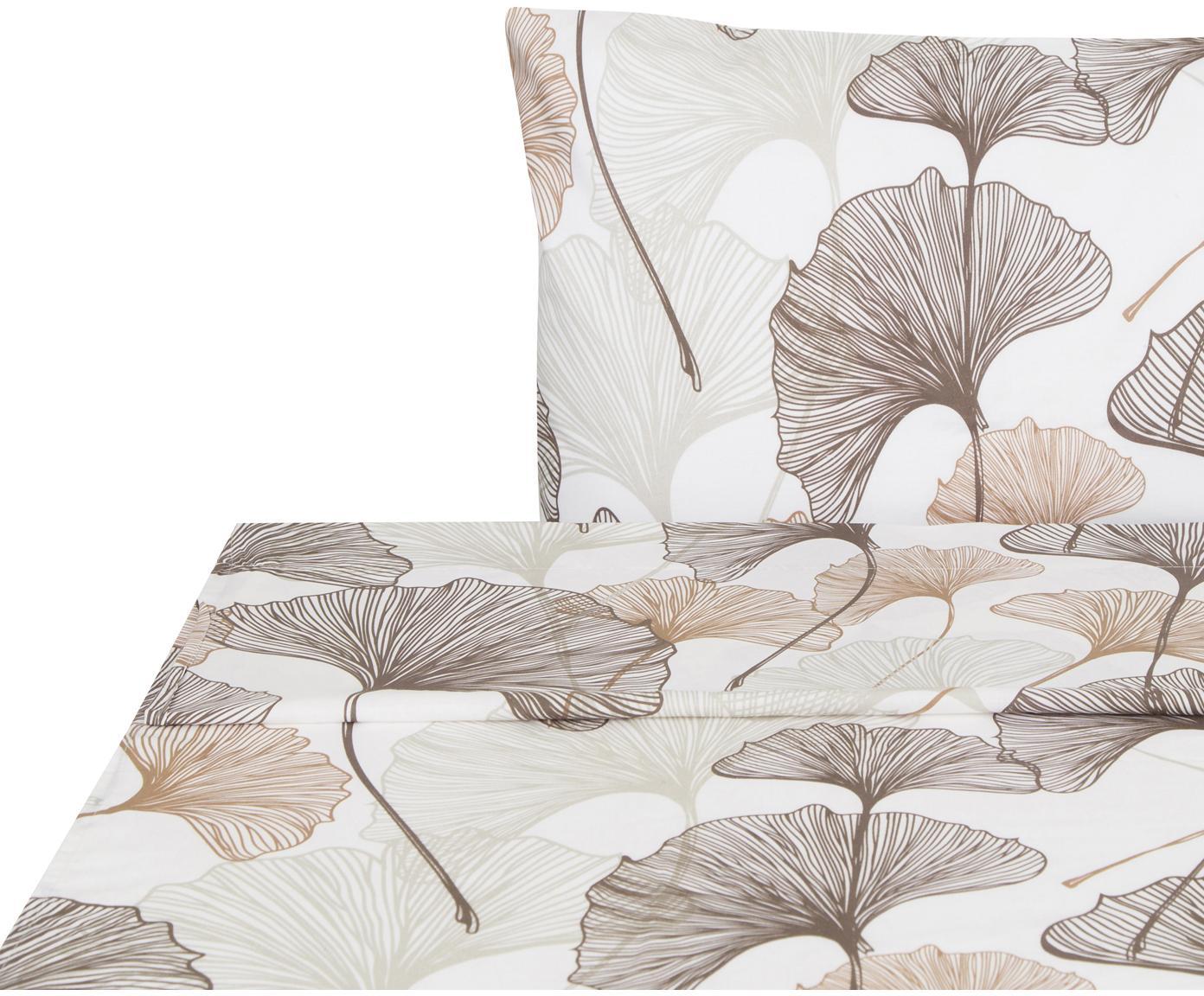 Sábana encimera Ginko, Algodón, Blanco, gris pardo, tonos beige, Cama 90 cm (160 x 270 cm)