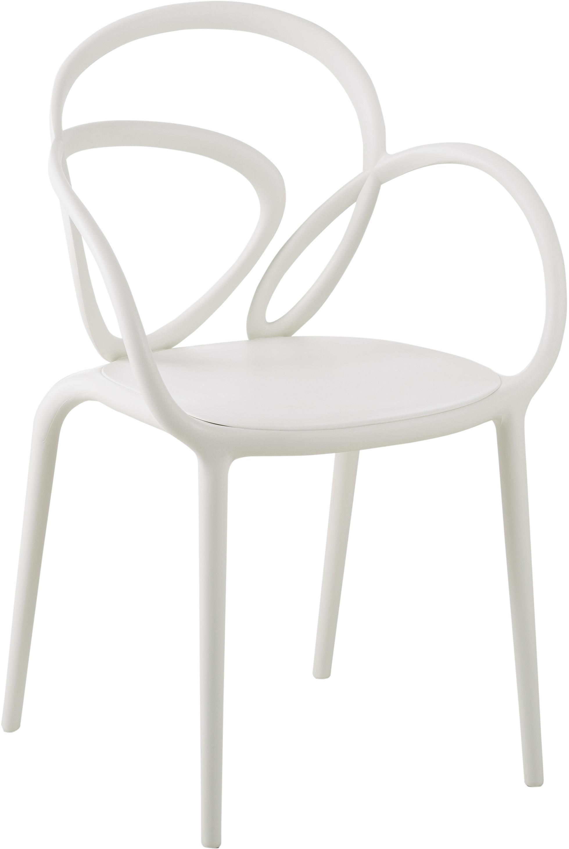 Sedia con braccioli Loop 2 pz, Polipropilene, Bianco, Larg. 52 x Prof. 56 cm