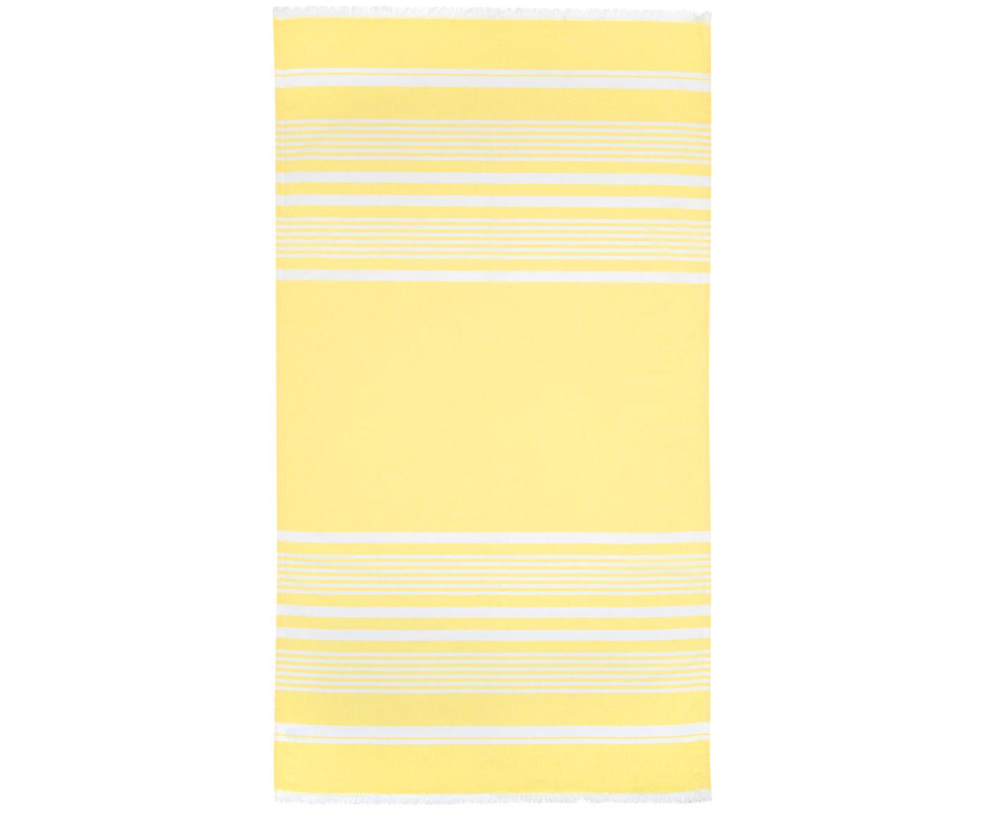 Hamamdoek Nora, 100% katoen, zeer lichte kwaliteit, 130 g/m², Geel, crèmewit, 90 x 170 cm
