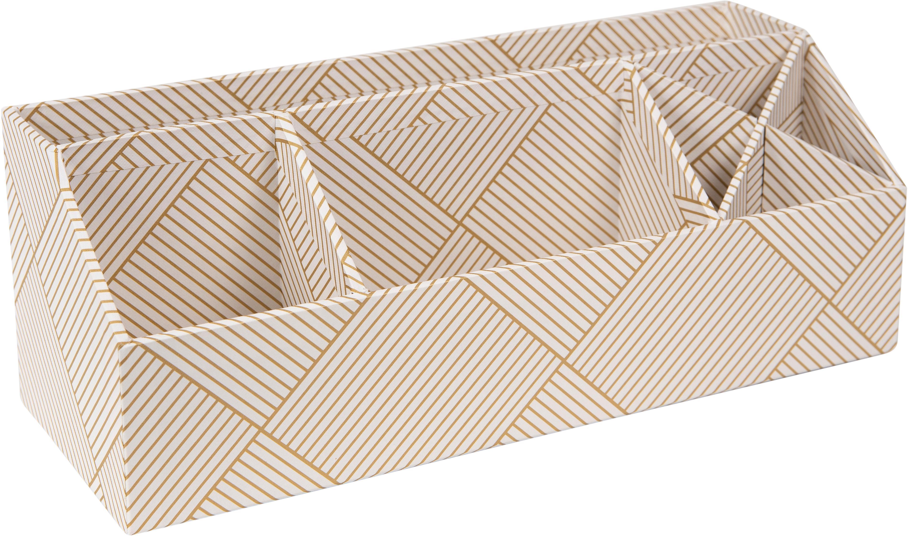 Organizer da ufficio Elisa, Solido, cartone laminato, Dorato , bianco, Larg. 33 x Alt. 13 cm