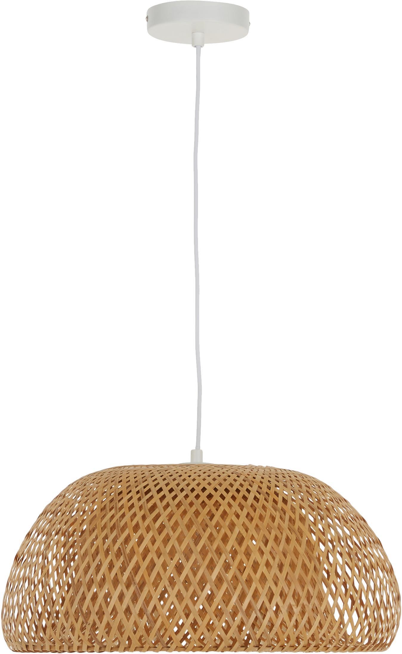 Handgemachte Pendelleuchte Eden aus Bambus, Lampenschirm: Bambus, Bambus, ∅ 55 x H 27 cm