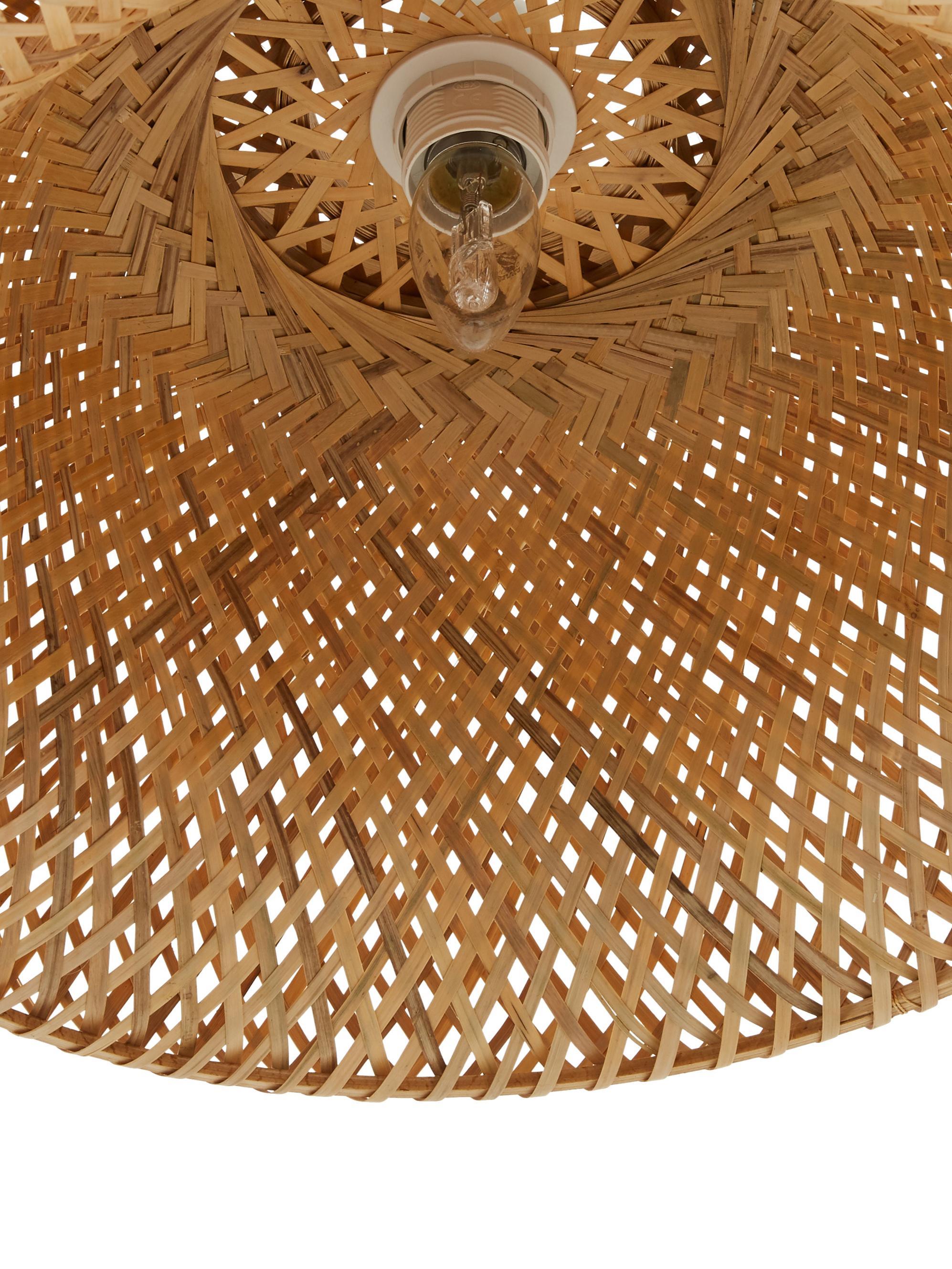Handgemaakte hanglamp Eden van bamboehout, Lampenkap: bamboehout, Bamboehoutkleurig, Ø 55 x H 27 cm