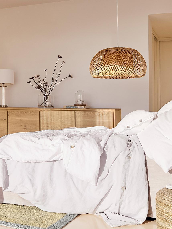 Ręcznie wykonana lampa wisząca z bambusa Eden, Drewno bambusowe, Ø 45 x W 21 cm