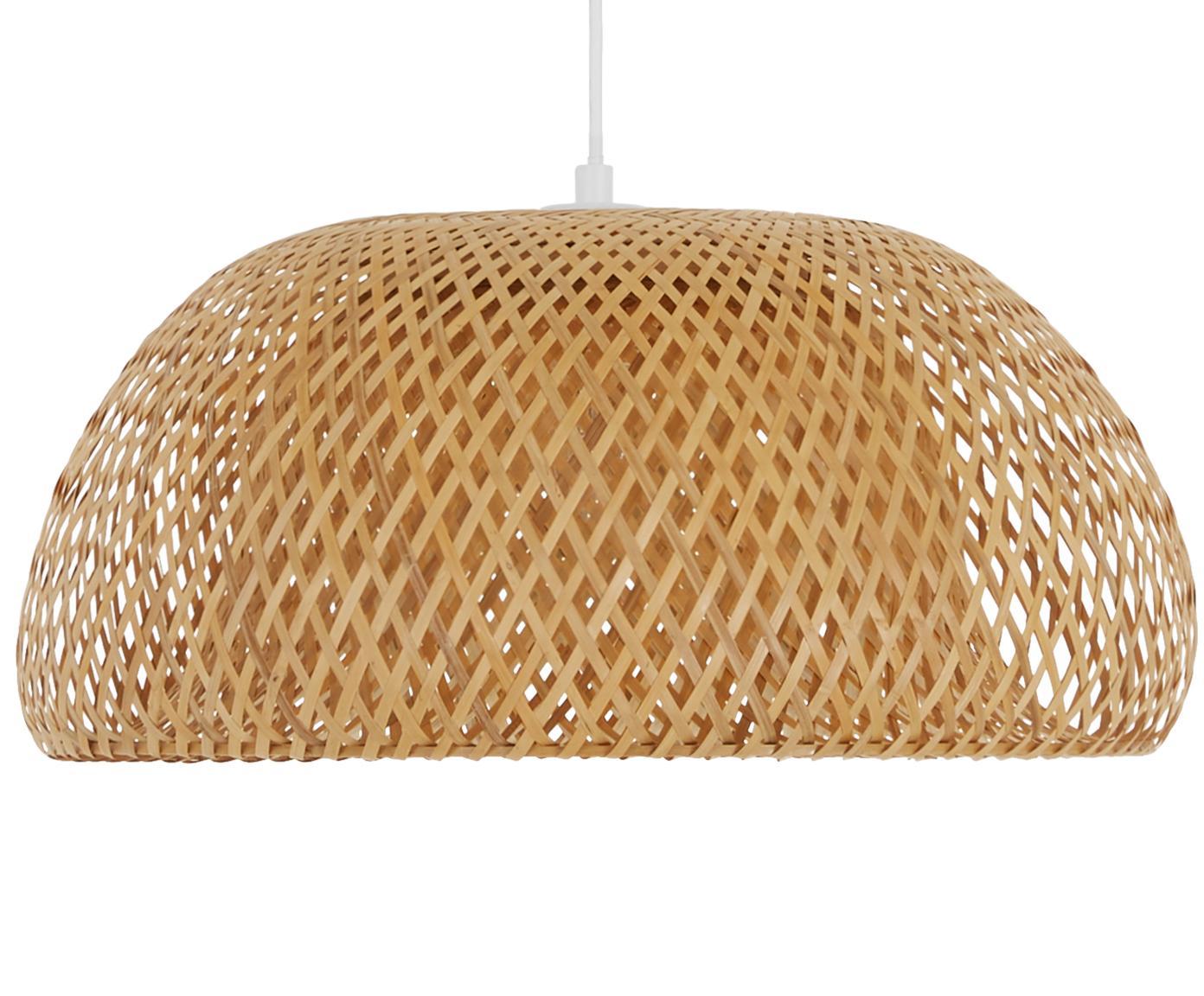 Handgemaakte hanglamp Eden van bamboehout, Lampenkap: bamboehout, Bamboehoutkleurig, Ø 45 x H 21 cm