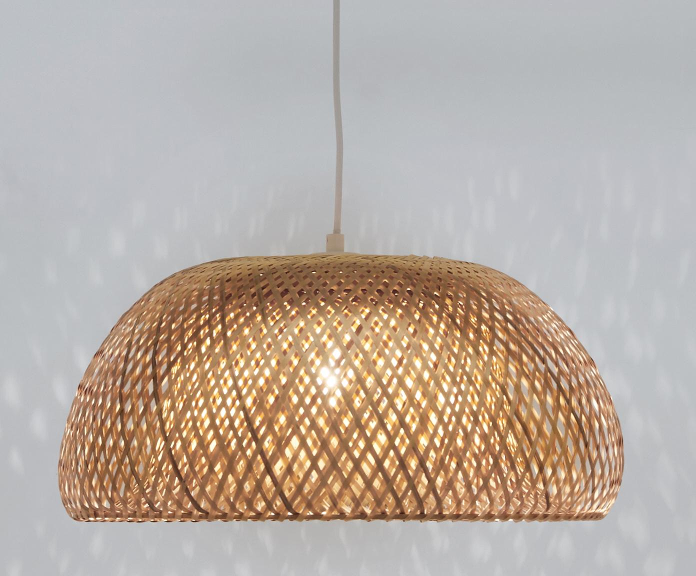Ręcznie wykonana lampa wisząca z bambusa Eden, Drewno bambusowe, Ø 55 x W 27 cm