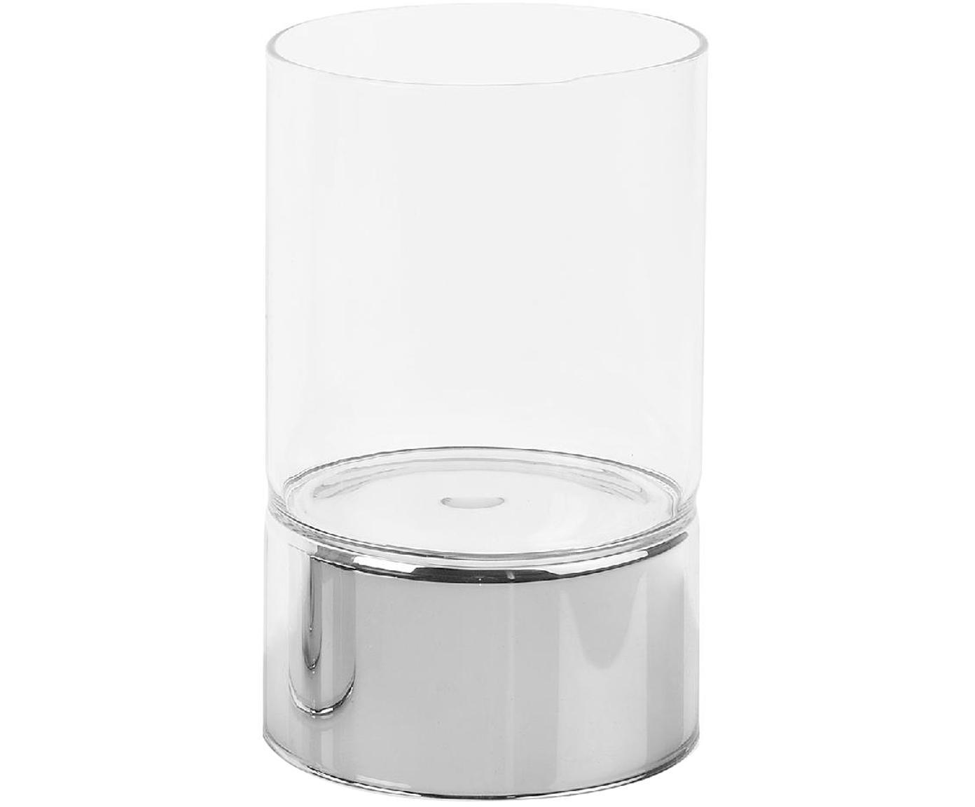 Windlicht Bartholomeu, Glas, Chrom, Transparent, Ø 9 x H 15 cm