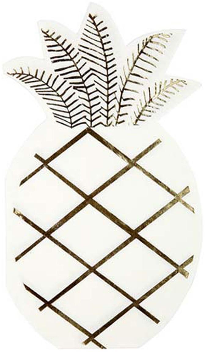 Papieren servetten Pineapple, 16 stuks, Papier, Wit, goudkleurig, 10 x 18 cm