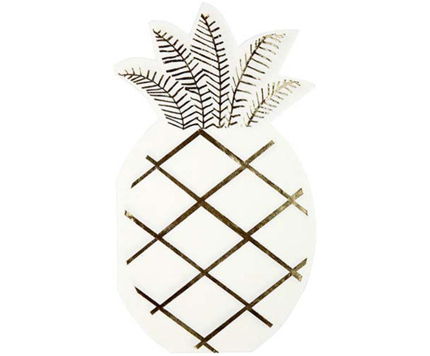 Papier-Servietten Pineapple, 16 Stück, Papier, Weiss, Goldfarben, 10 x 18 cm