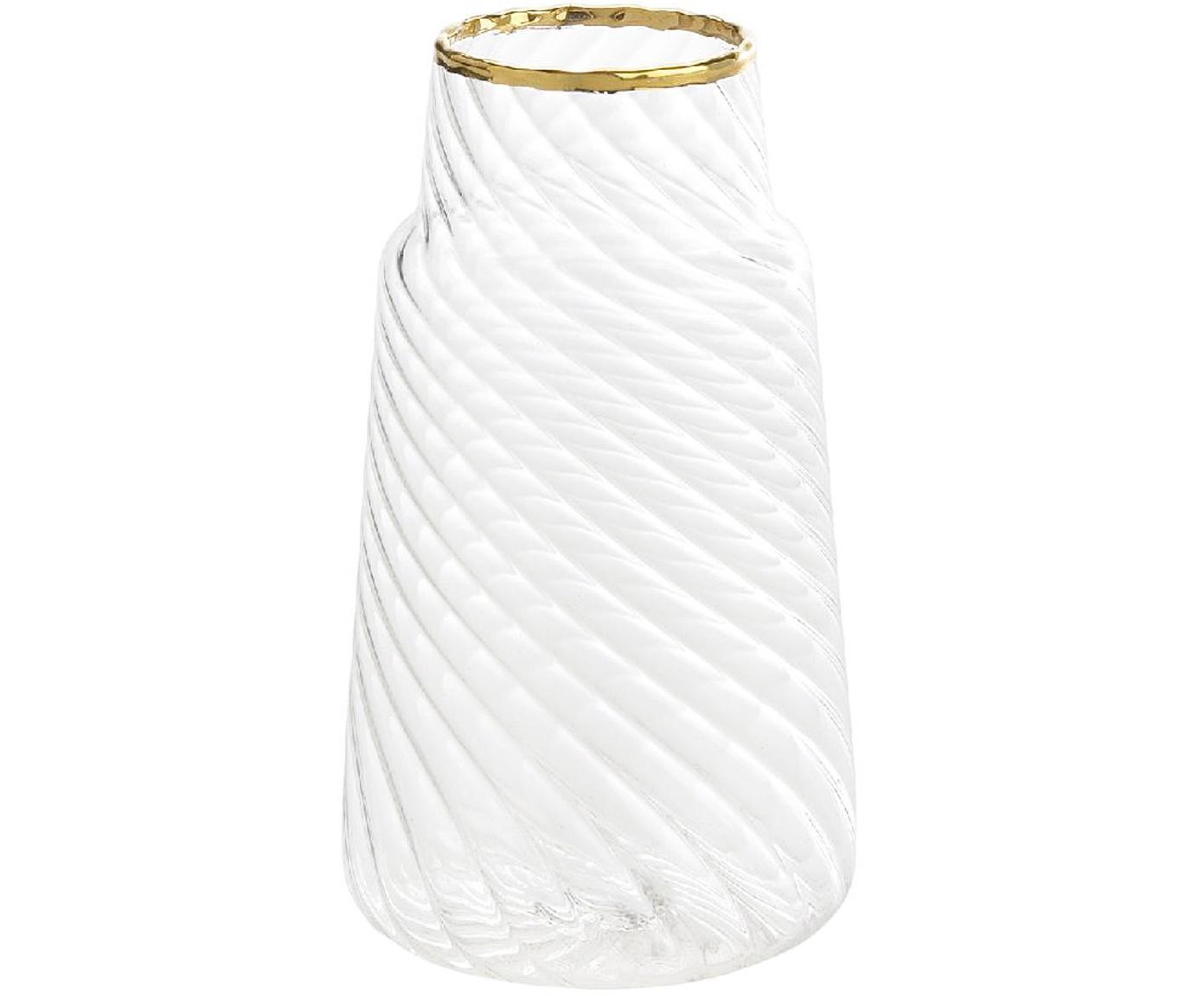 Kleine Glas-Vase Plunn, Glas, Transparent, Goldfarben, Ø 6 x H 11 cm