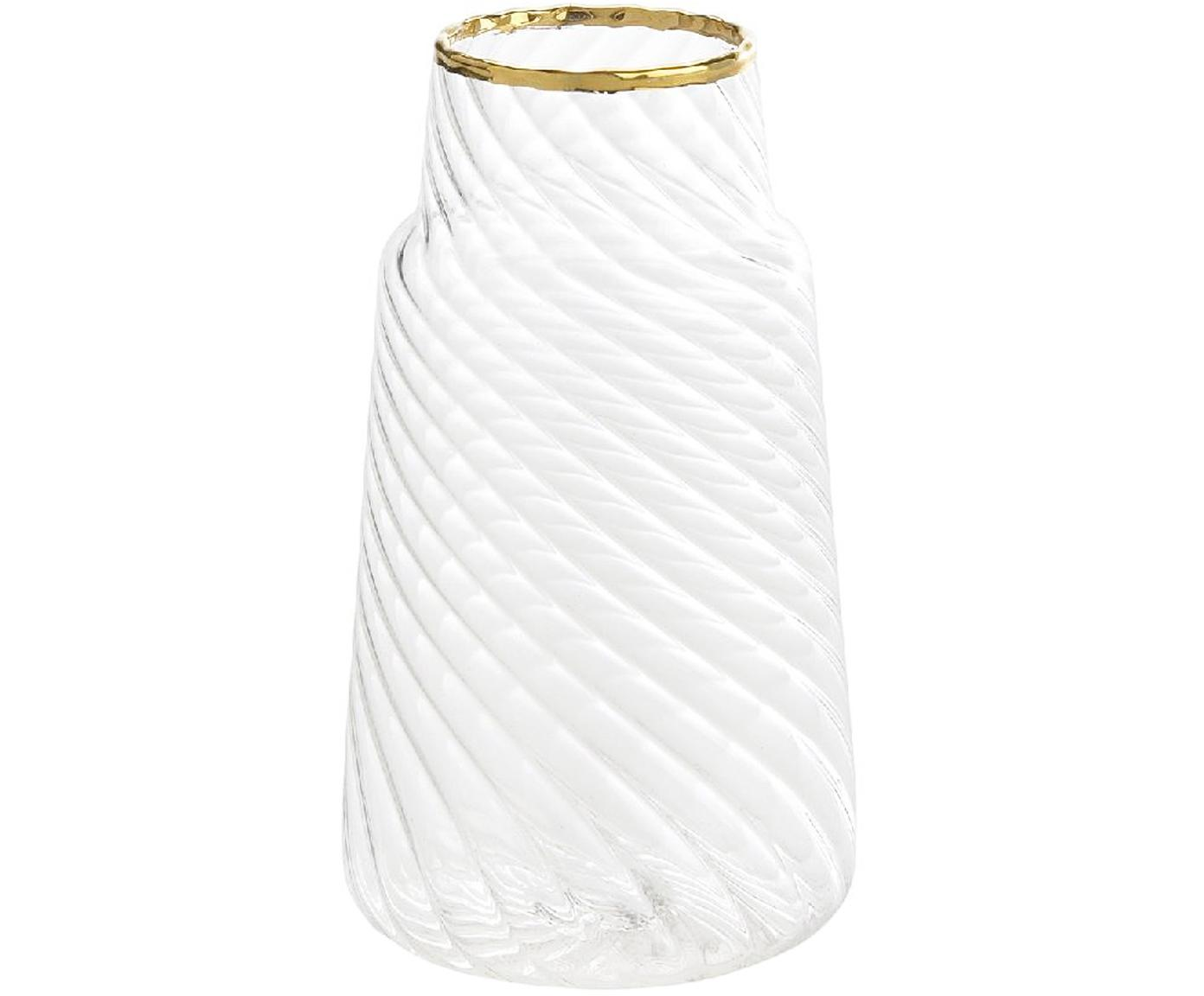 Kleine glazen vaas Plunn, Glas, Transparant, goudkleurig, Ø 6 x H 11 cm