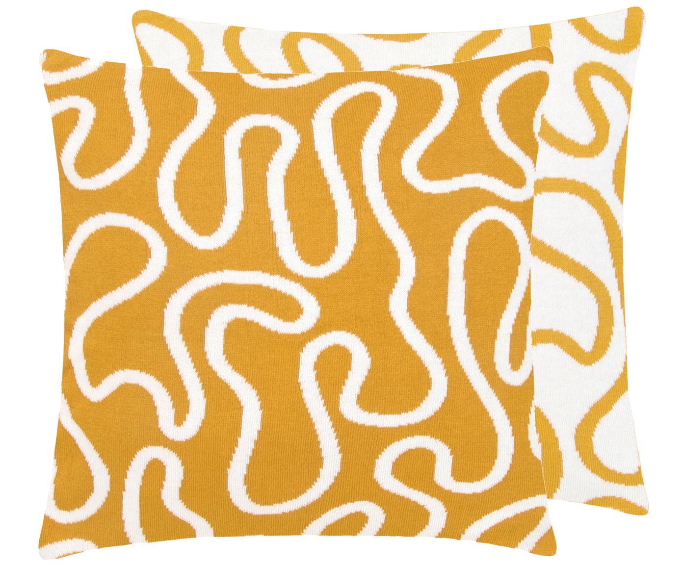 Feinstrick-Wendekissenhülle Amina mit abstraktem Linienmuster, 100% Baumwolle, Gelb/Weiss, 40 x 40 cm