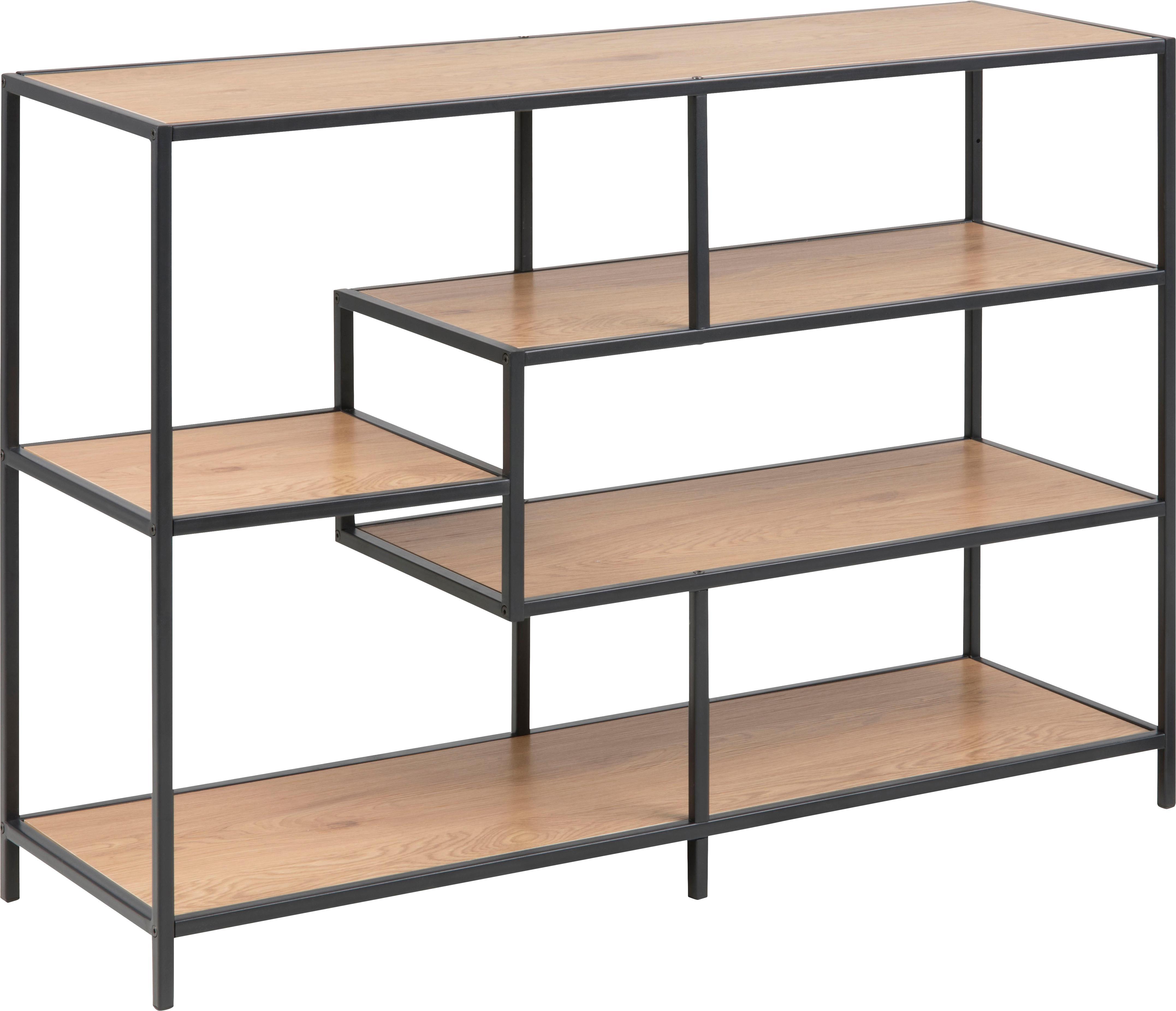 Libreria in legno e metallo Seaford Zig, Ripiani: pannello di fibre a media, Struttura: metallo verniciato a polv, Quercia selvatica, nero, Larg. 114 x Alt. 78 cm