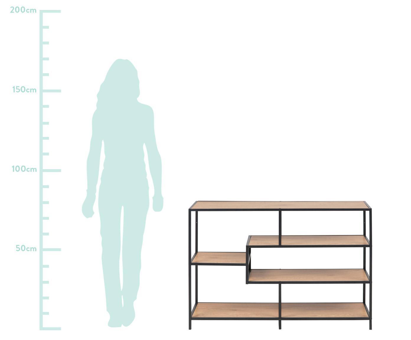 Standregal Seaford Zig aus Holz und Metall, Einlegeböden: Mitteldichte Faserplatte , Gestell: Metall, pulverbeschichtet, Wildeche, Schwarz, 114 x 78 cm