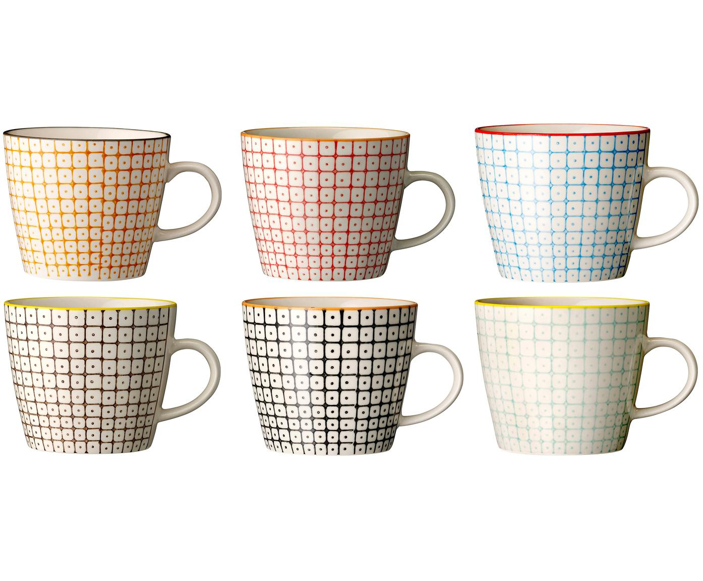 Tassen-Set Carla, 6-tlg., Steingut, Mehrfarbig, Ø 10 x H 8 cm