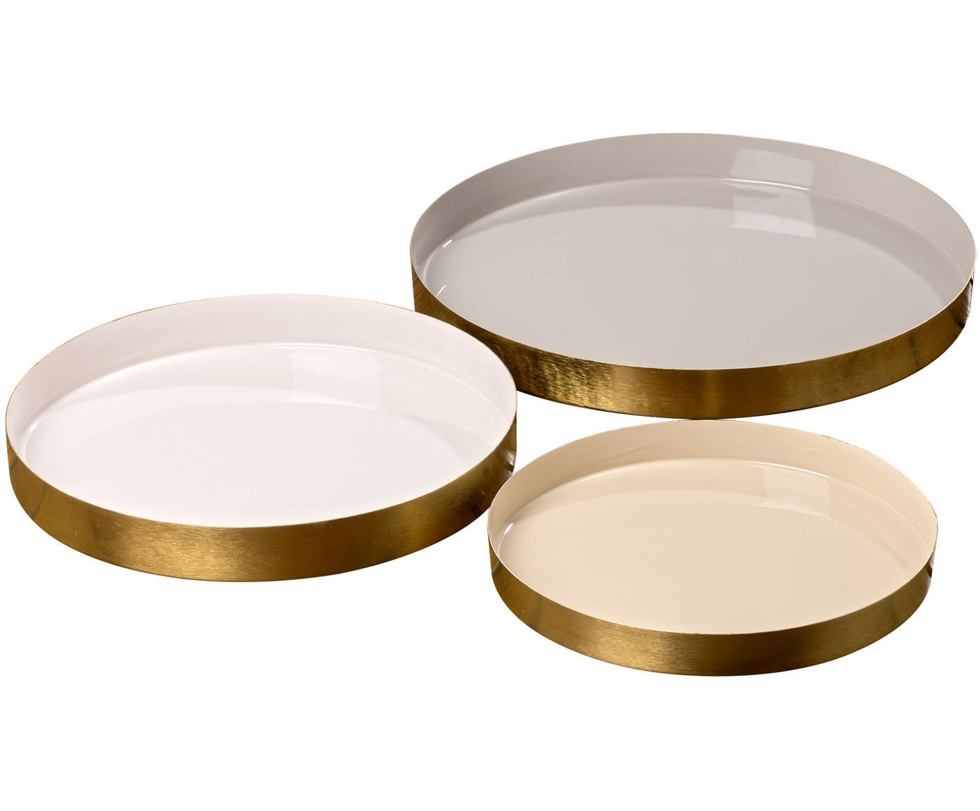 Decoratieve dienbladenset Ayra, 3-delig, Gelakt metaal, Grijs, beige, wit. Buitenrand: alle goudkleurig, Verschillende formaten