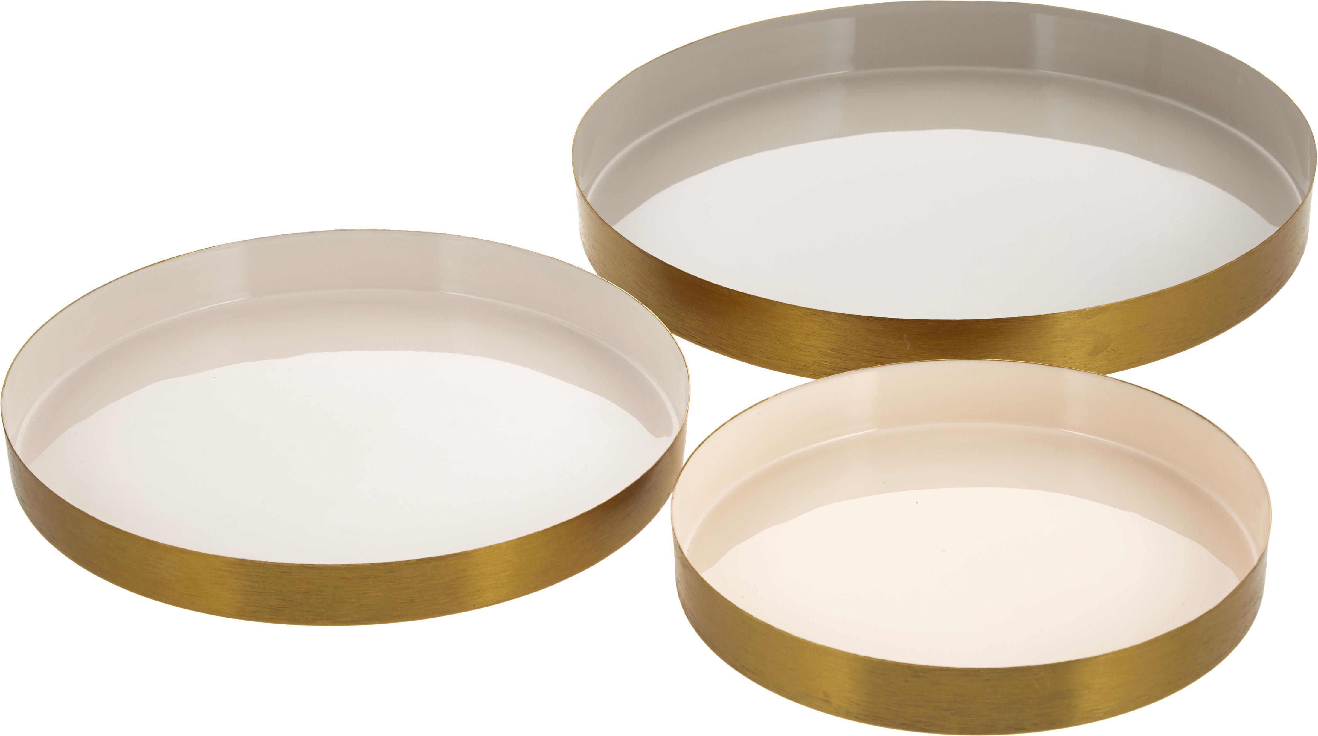 Decoratieve dienbladenset Ayra, 3-delig, Gelakt metaal, Grijs, beige, wit. Buitenrand: alle goudkleurig, Set met verschillende formaten