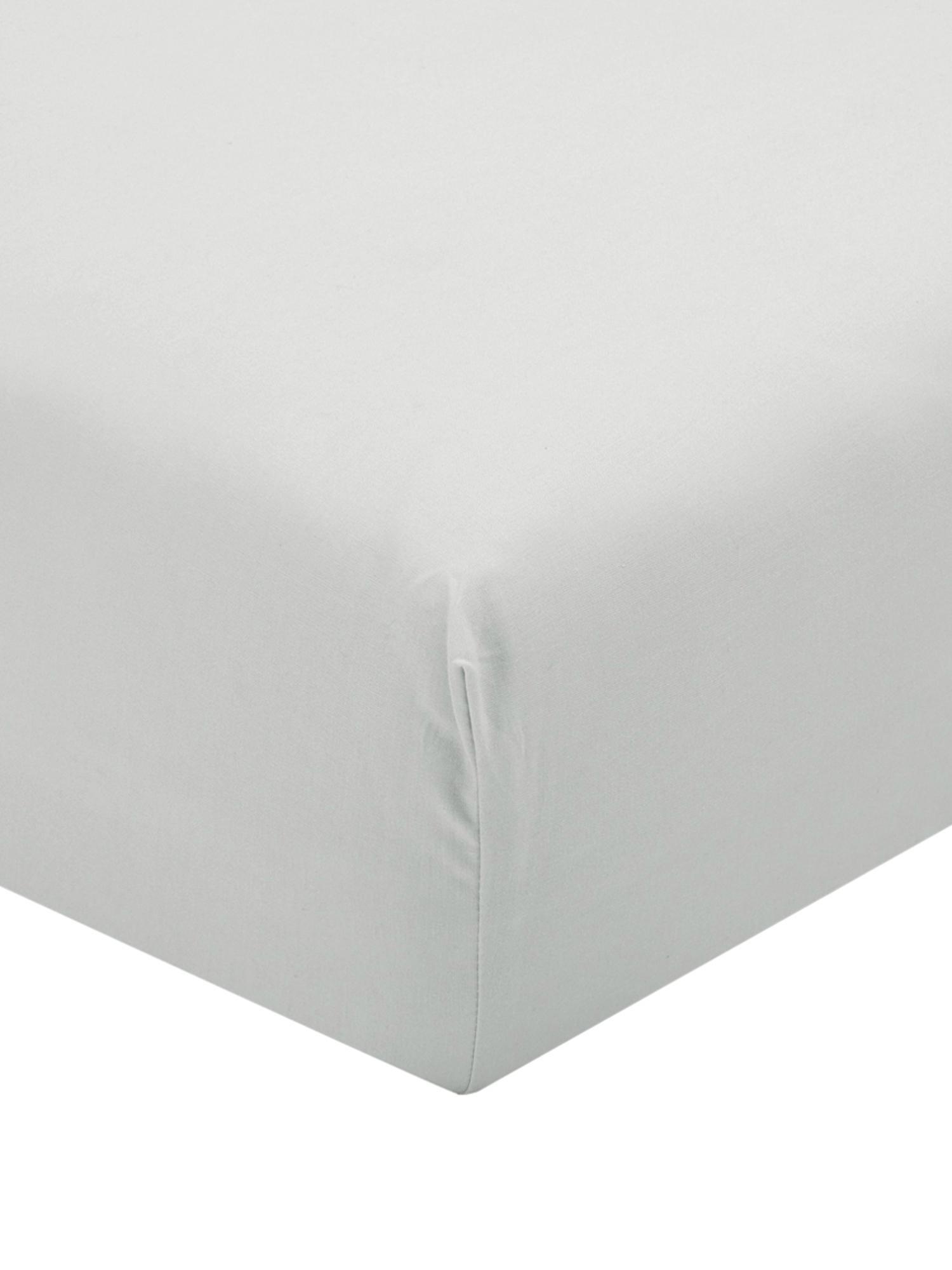 Sábana bajera de percal Elsie, Gris claro, Cama 90 cm (90 x 200 cm)