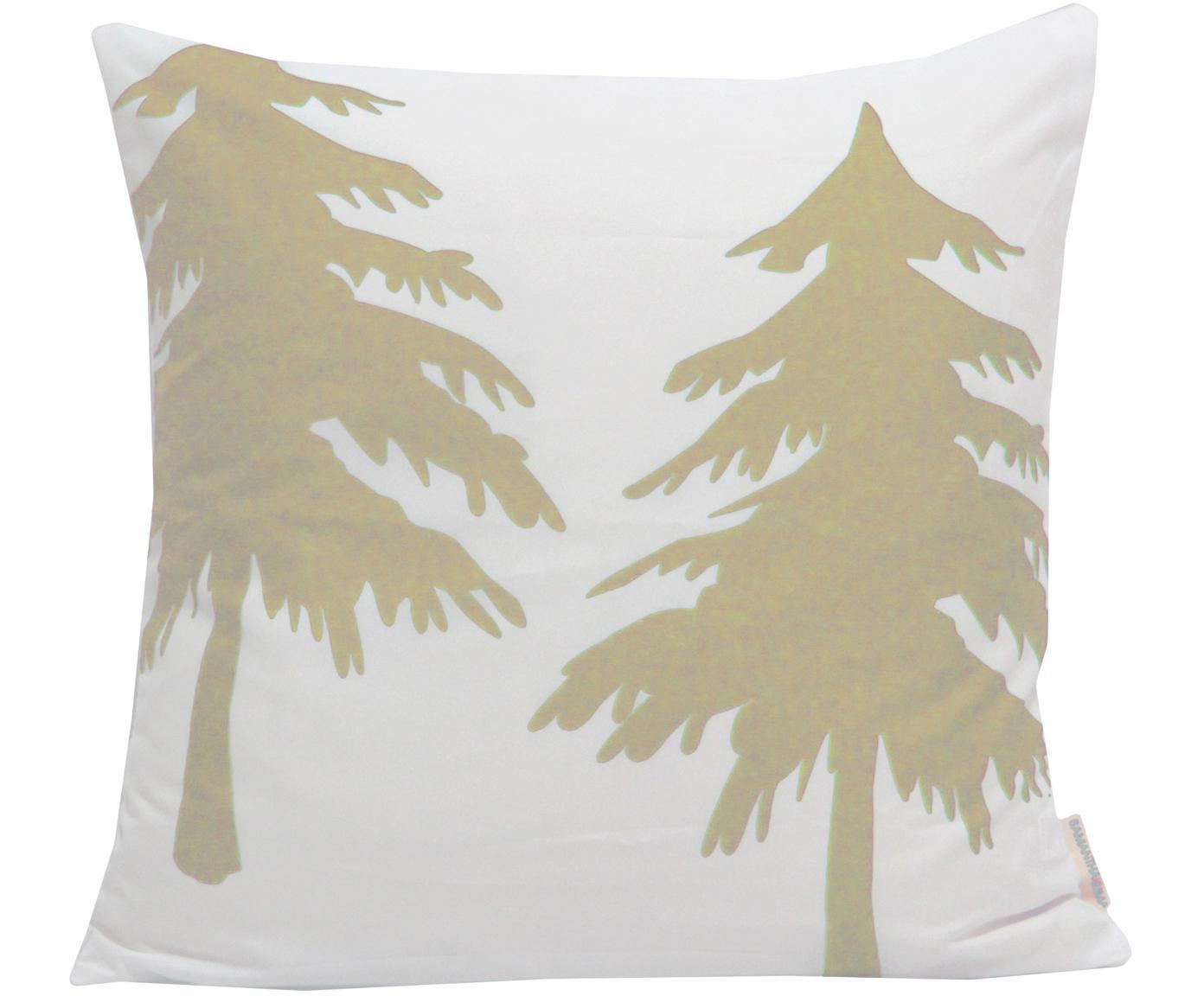 Samt-Kissenhülle Trees mit Tannenbäumen, Polyestersamt, Weiß, Beige, 45 x 45 cm