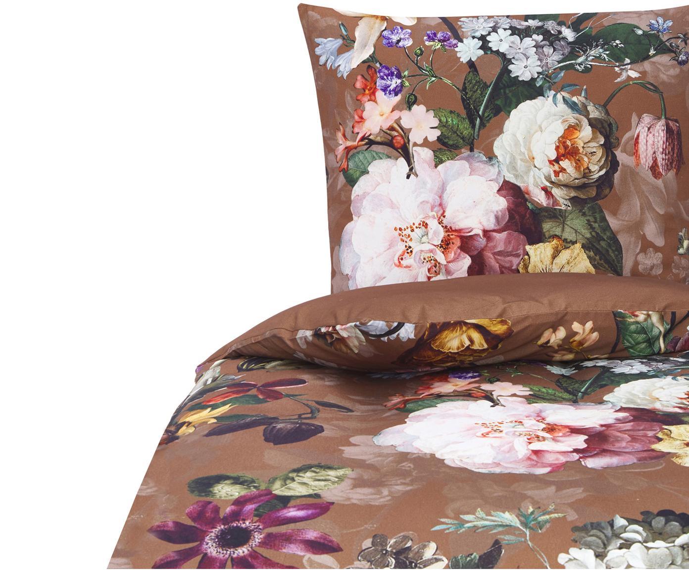 Flanell-Bettwäsche Fleurel mit Blumen-Muster, Webart: Flanell, Renforce gebürst, Braun, 135 x 200 cm + 1 Kissen 80 x 80 cm