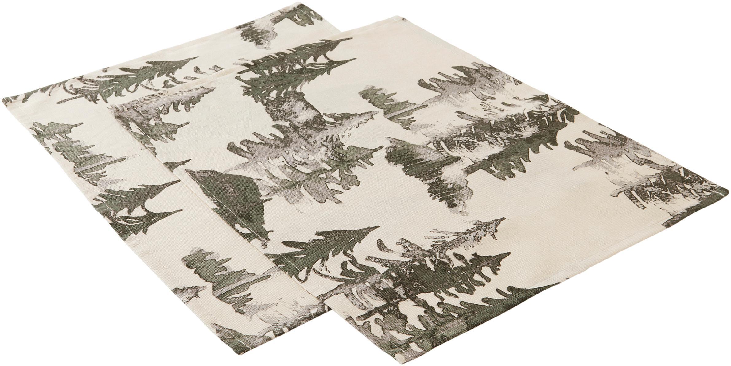 Tovaglietta americana Forrest 2 pz, 100% cotone da coltivazione sostenibile, Crema, tonalità verdi e grigie, Larg. 35 x Lung. 45 cm