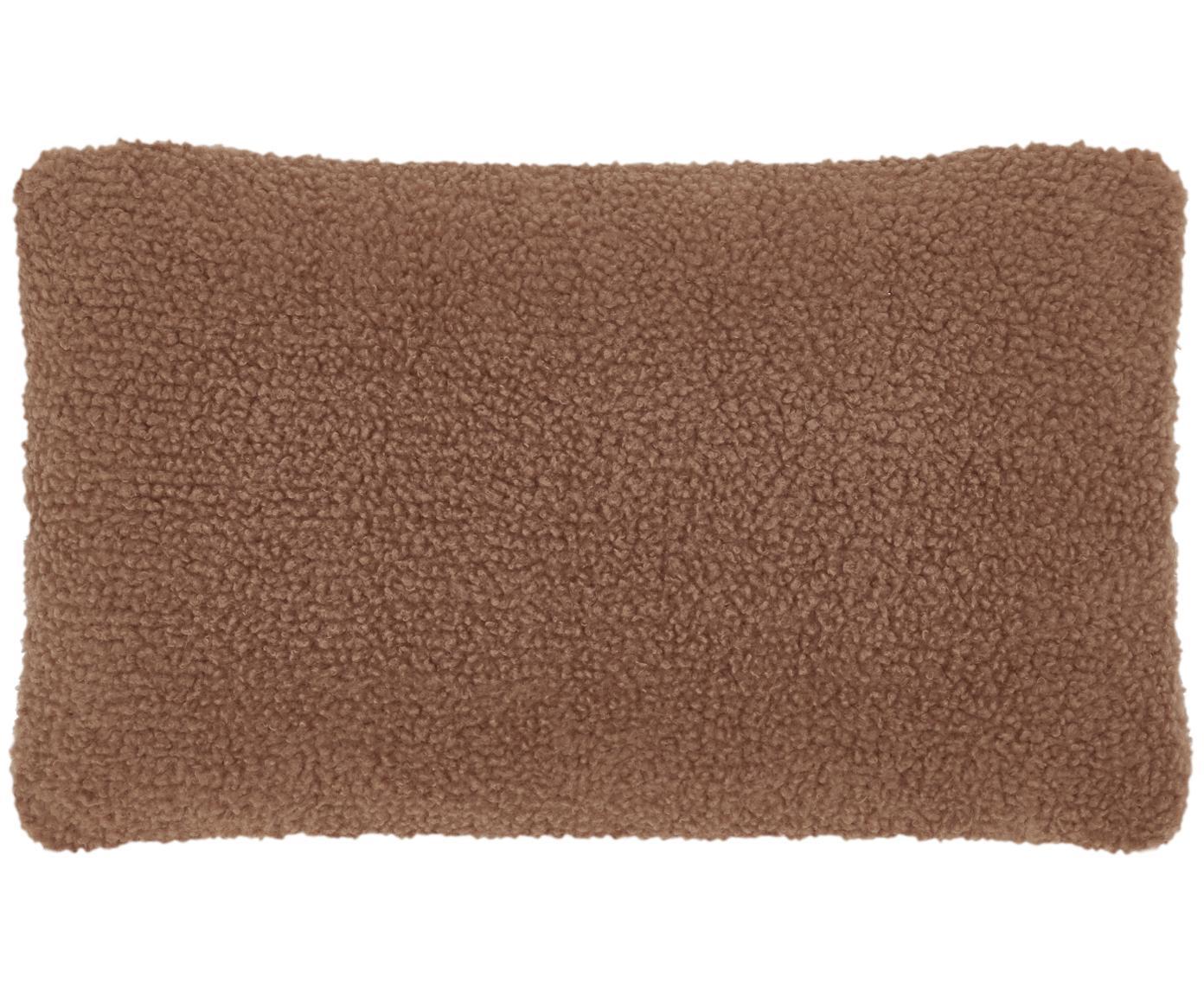 Flauschige Teddy-Kissenhülle Mille, Vorderseite: 100% Polyester (Teddyfell, Rückseite: 100% Polyester (Teddyfell, Braun, 30 x 50 cm