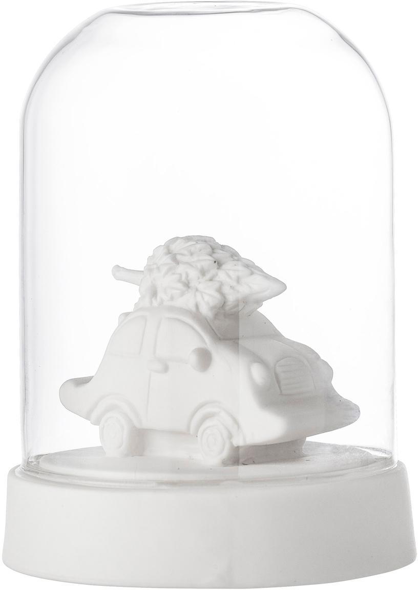 Leuchtobjekt Car with Tree, batteriebetrieben, Porzellan, Glas, Weiß, Transparent, Ø 9 x H 12 cm