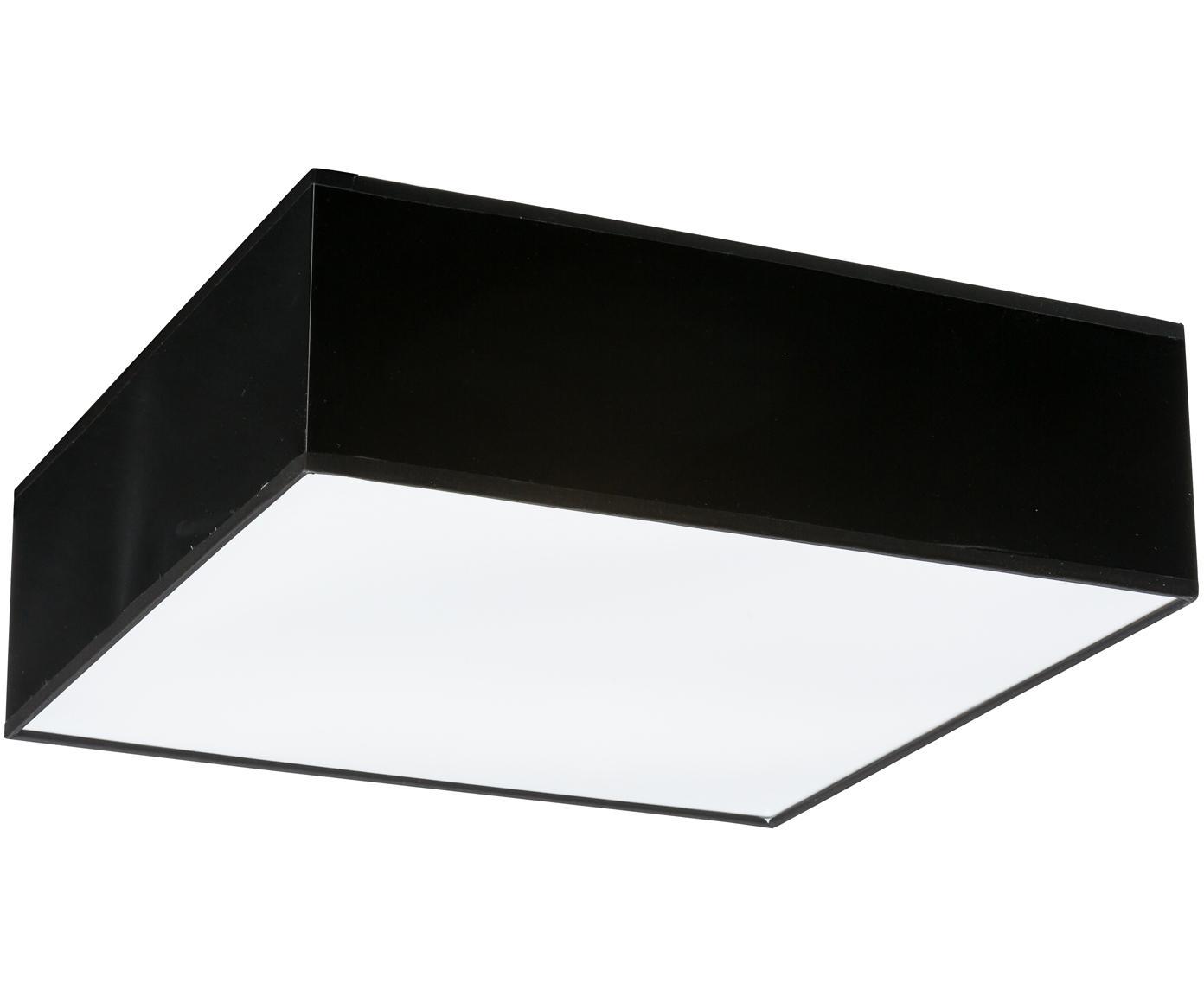 Plafoniera in materiale sintetico Mitra, Materiale sintetico (PVC), Cornice: nero Diffusore: bianco, Larg. 35 x Alt. 12 cm