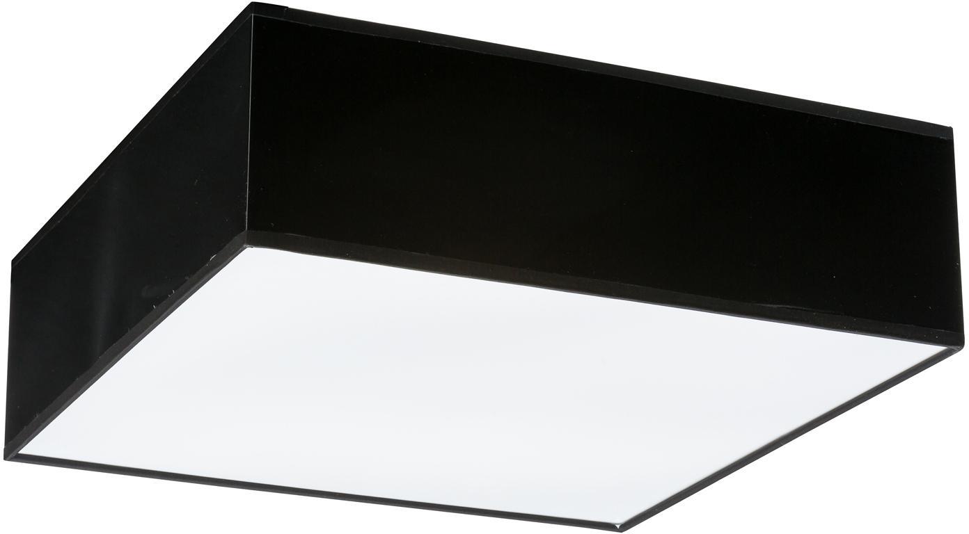 Plafondlamp Mitra uit kunststof, Kunststof (PVC), Frame: zwart<br>Diffuser: wit, 35 x 12 cm