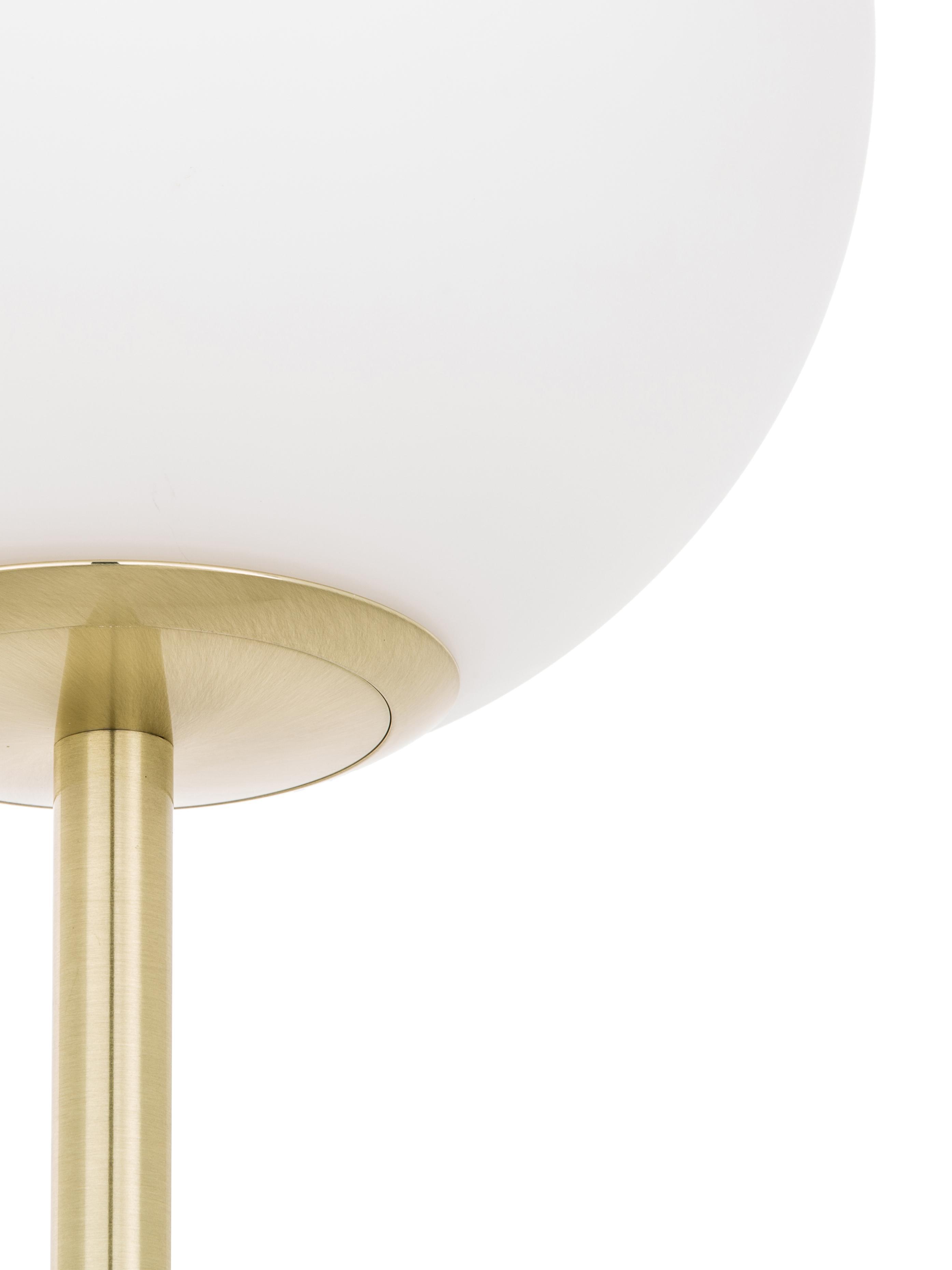 Lampadaire avec pied en marbre Cory, Blanc, laiton