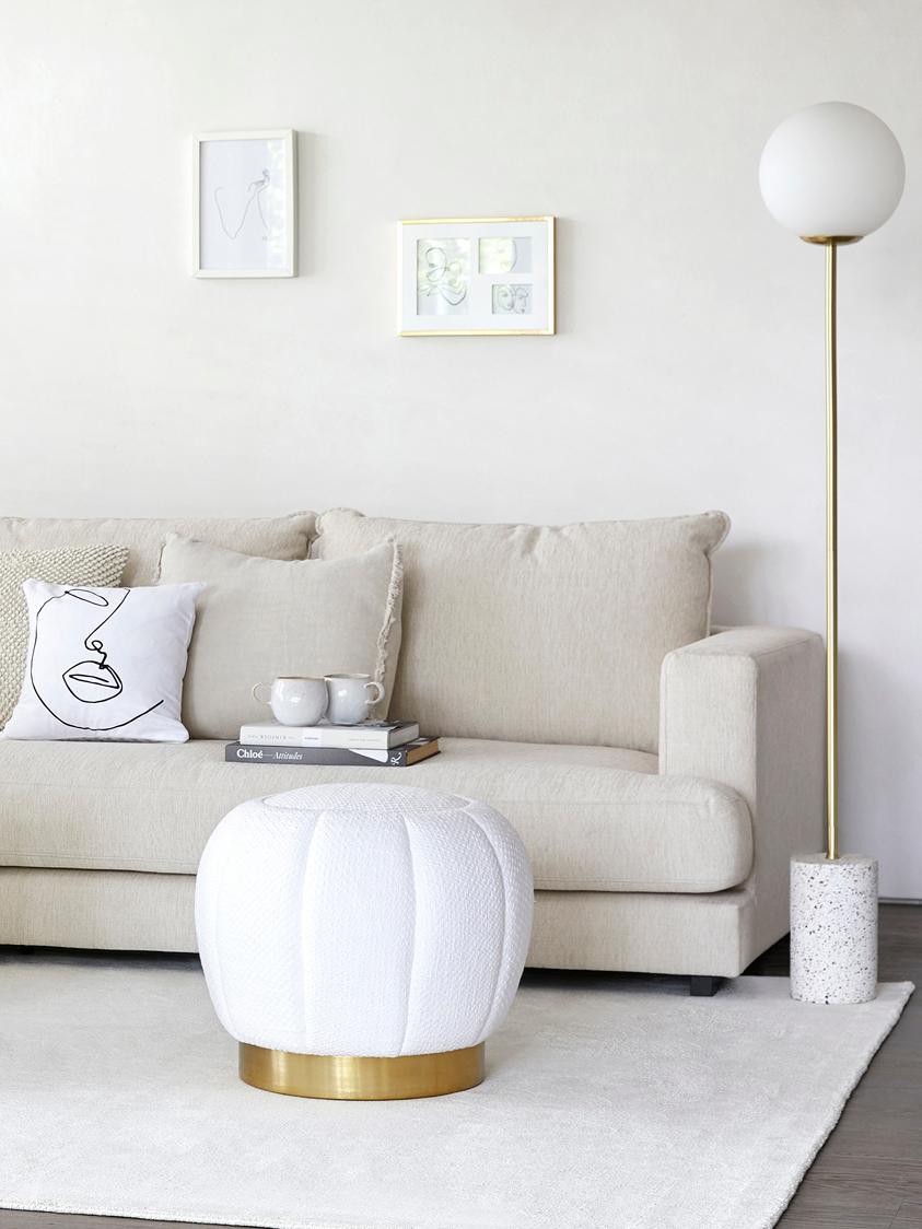 Lampada da terra con base in marmo Cory, Paralume: vetro, Base della lampada: metallo ottonato; marmo D, Bianco, ottone, Ø 25 x Alt. 160 cm