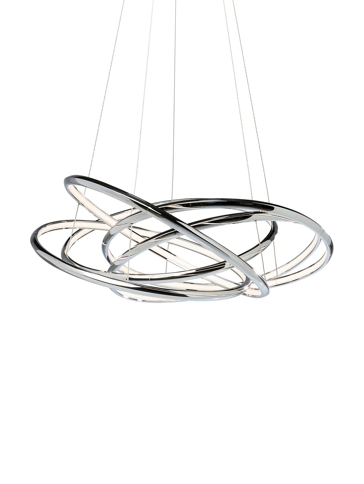 Moderne LED Pendelleuchte Saturn, Lampenschirm: Aluminium, verchromt, Baldachin: Stahl, vermessingt, Silberfarben, 75 x 120 cm