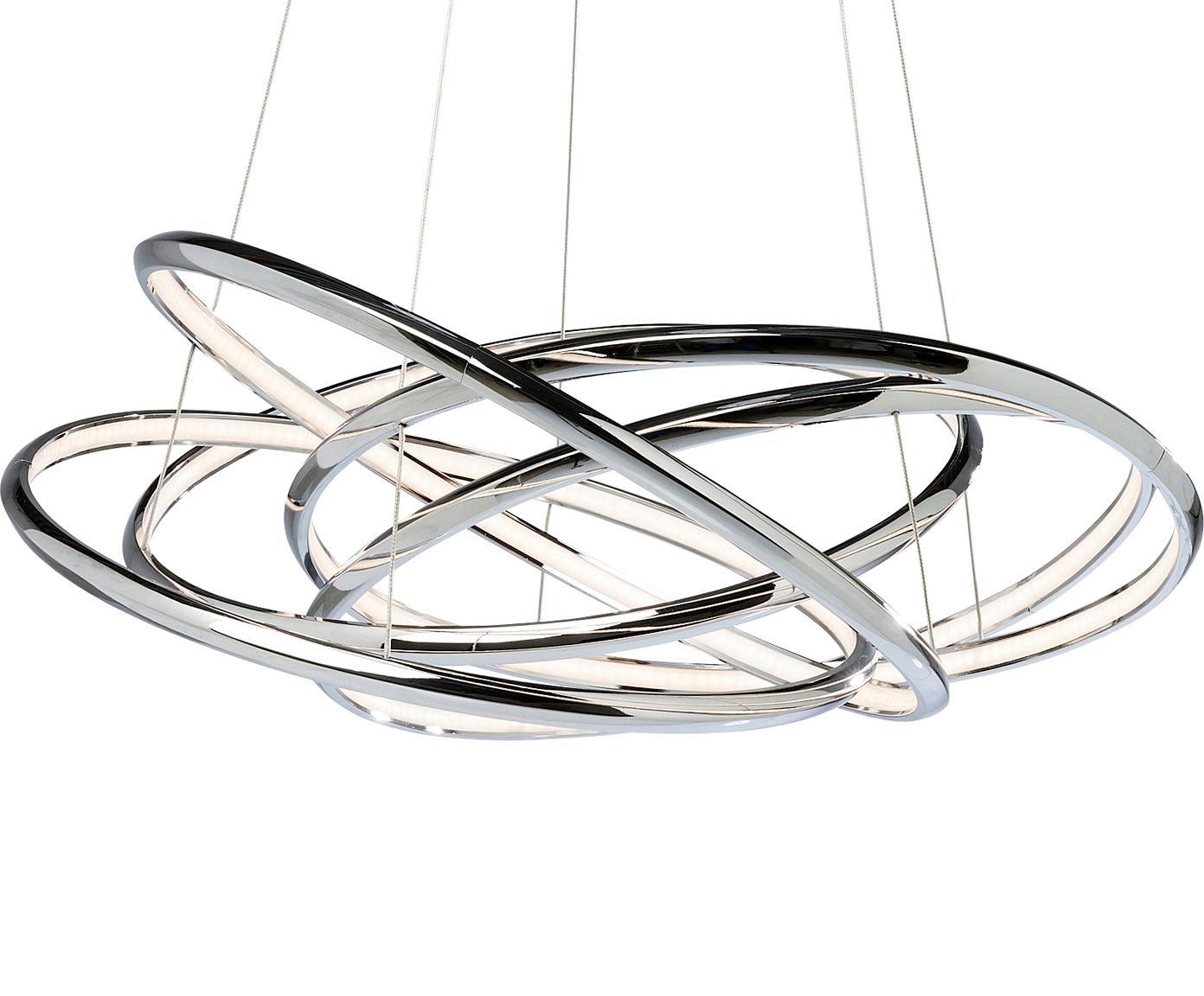 Lámpara de techo LED Saturn, estilo morderno, Pantalla: aluminio, cromado, Anclaje: acero, latón, Plateado, An 75 x Al 120 cm