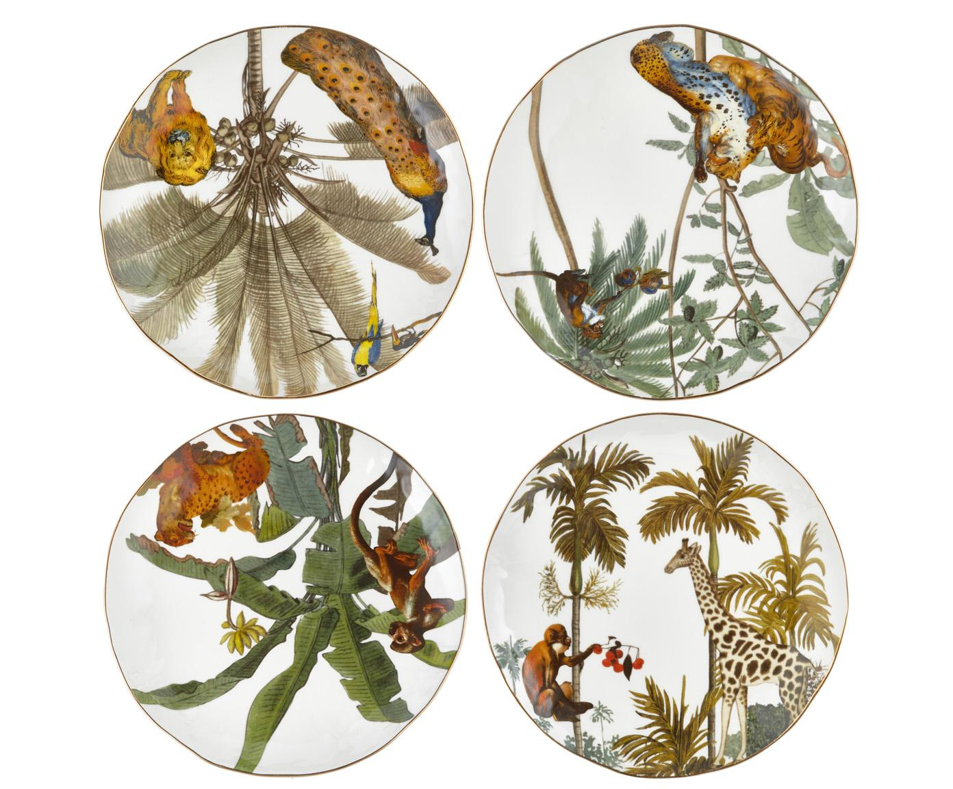 Set 4 piatti da colazione con bordo oro e motivi tropicali Animaux, Porcellana, Multicolore, Ø 20 cm