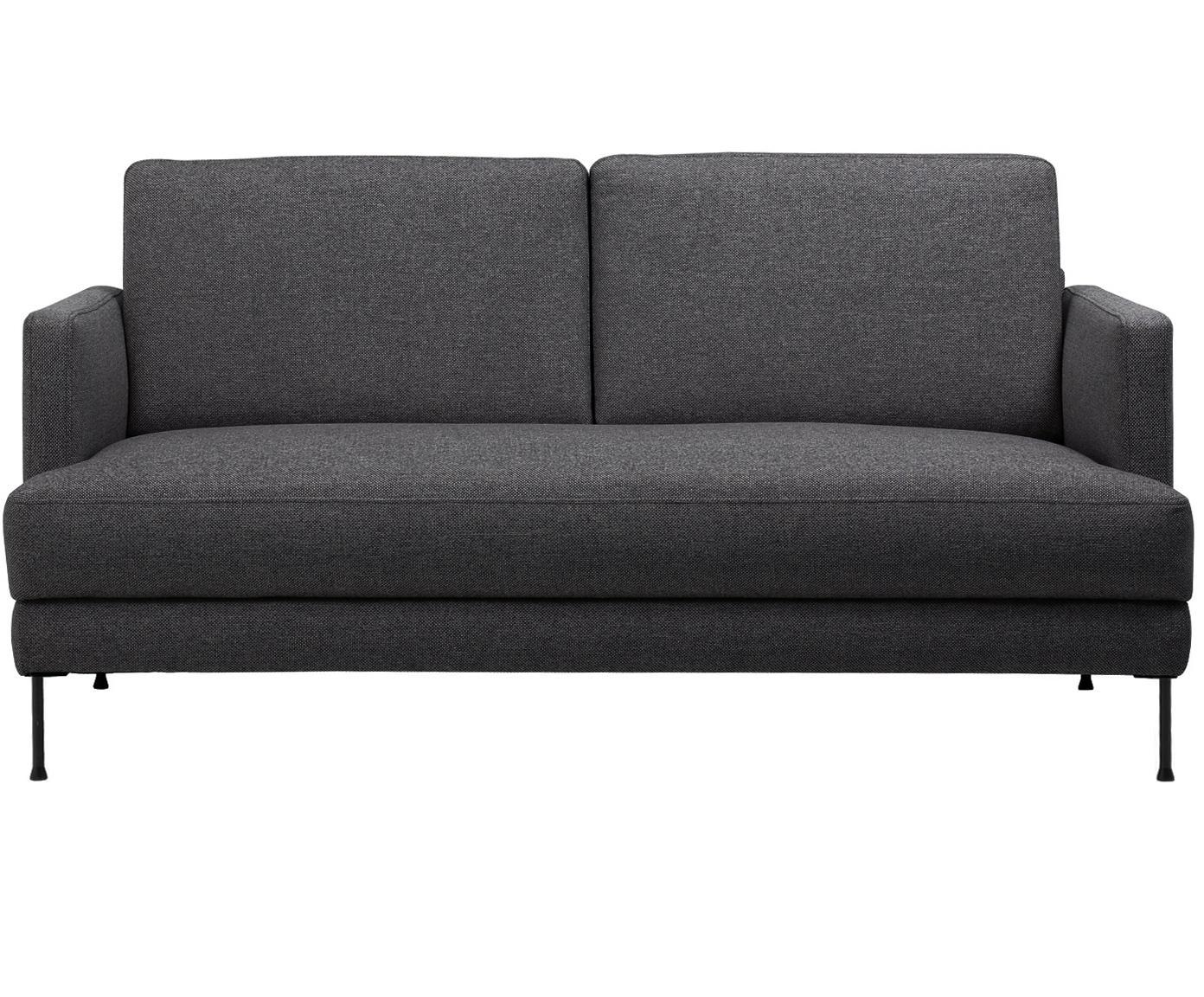 Sofa Fluente (2-osobowa), Tapicerka: poliester 45000 cykli w , Stelaż: drewno naturalne, Nogi: metal lakierowany, Ciemnyszary, S 168 x W 85 cm