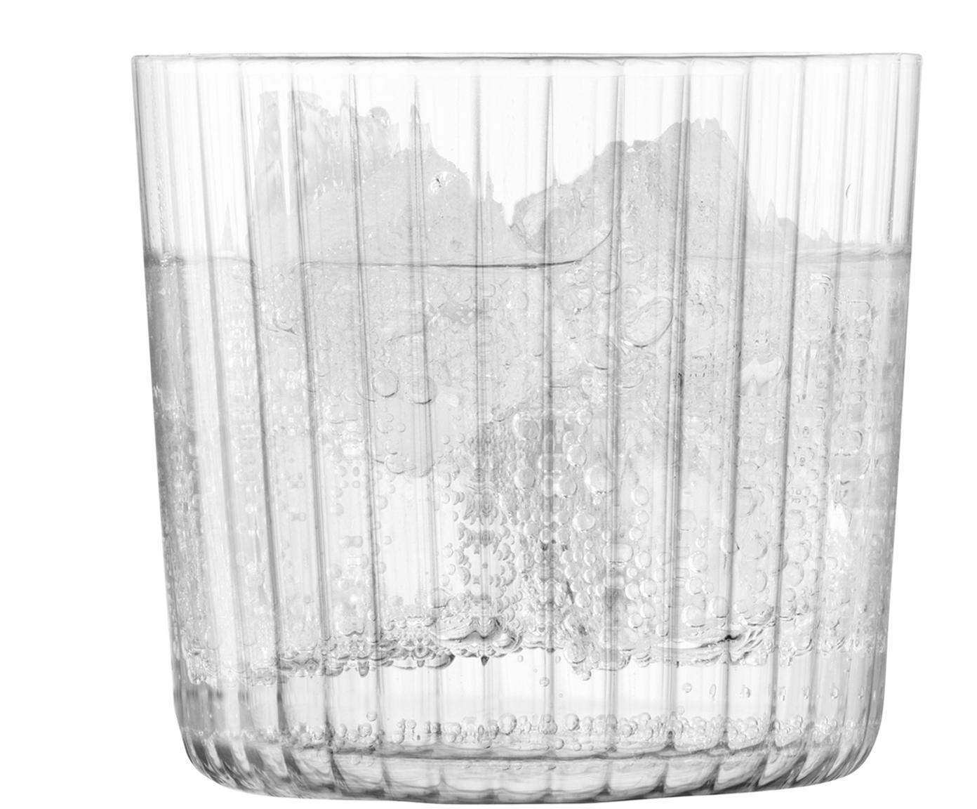 Mondgeblazen waterglazen Gio met groefstructuur, 4-delig, Glas, Transparant, Ø 8 x H 7 cm
