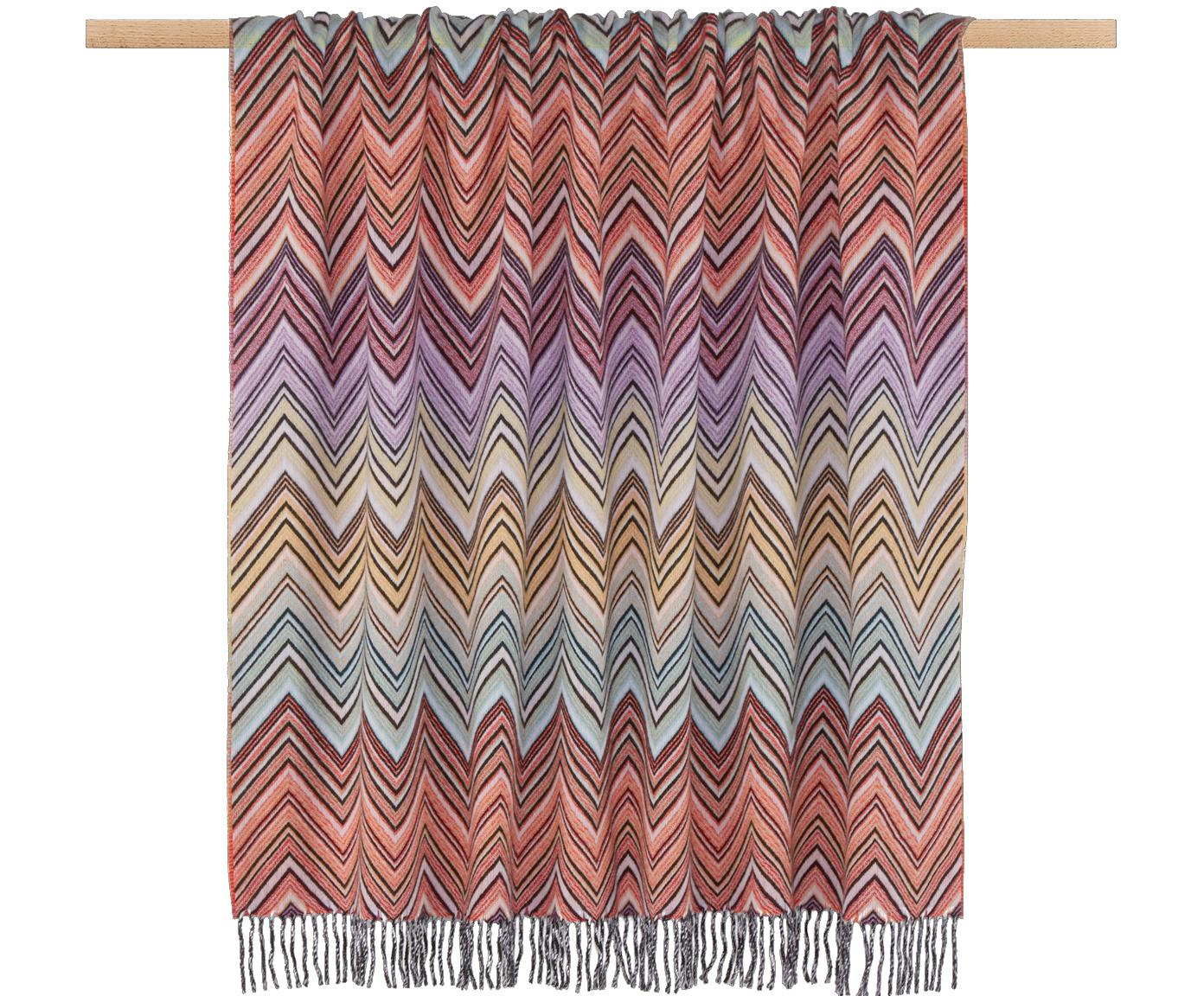 Manta de lana Perseo, 90% lana, 10% cachemir, Naranja, multicolor, An 130 x L 190 cm