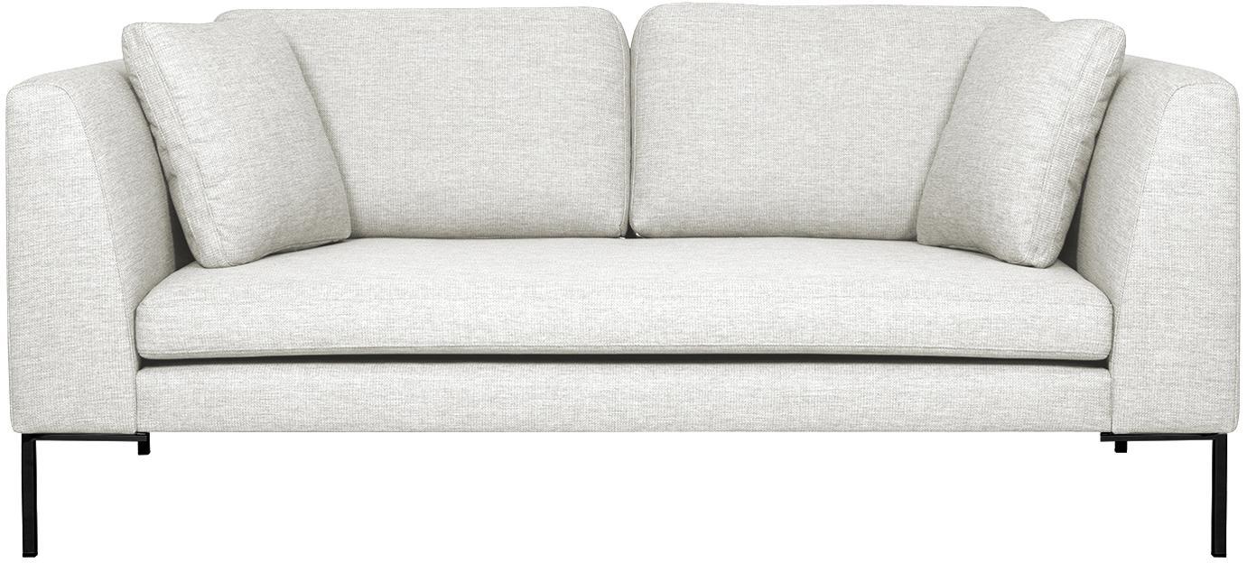 Sofa Emma (2-Sitzer), Bezug: Polyester 100.000 Scheuer, Gestell: Massives Kiefernholz, Füße: Metall, pulverbeschichtet, Webstoff Cremeweiß, Füße Schwarz, B 194 x T 100 cm