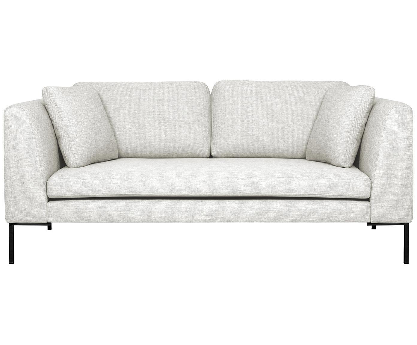 Sofa Emma (2-Sitzer), Bezug: Polyester 100.000 Scheuer, Gestell: Massives Kiefernholz, Webstoff Cremeweiss, Füsse Schwarz, B 194 x T 100 cm