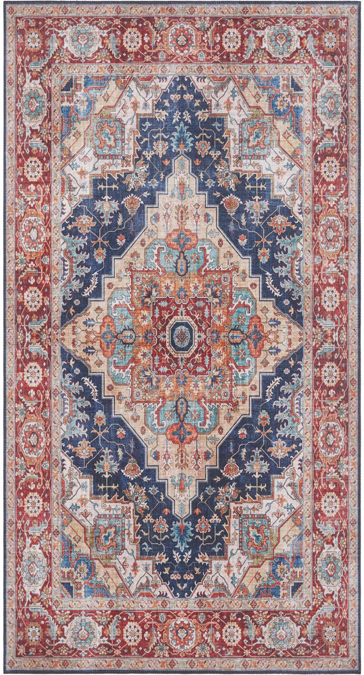 Vloerkleed Sylla in vintage stijl, Blauw, rood, B 80 x L 150 cm (maat XS)