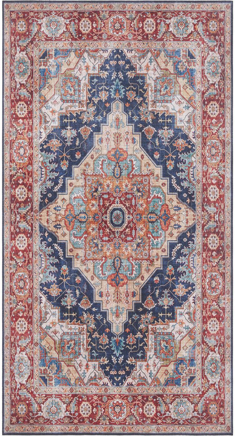 Alfombra Sylla, estilo vintage, Azul, rojo, An 80 x L 150 cm (Tamaño XS)