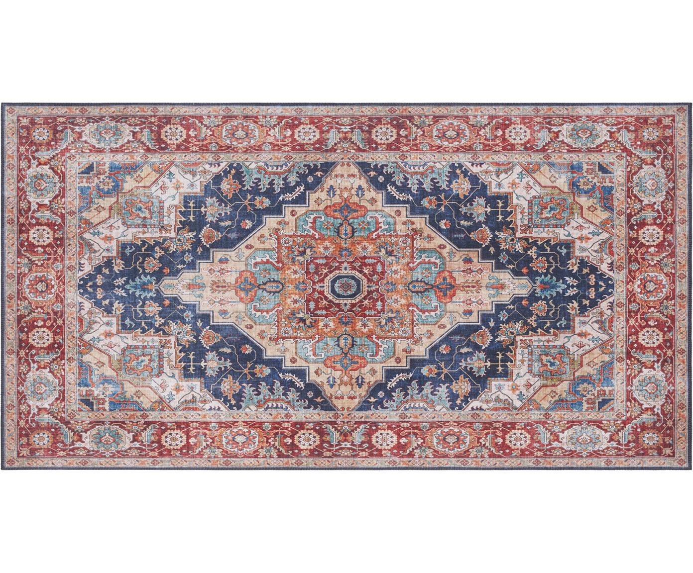 Vloerkleed Sylla in vintage stijl, Polyester, Blauw, rood, B 80 x L 150 cm (maat XS)