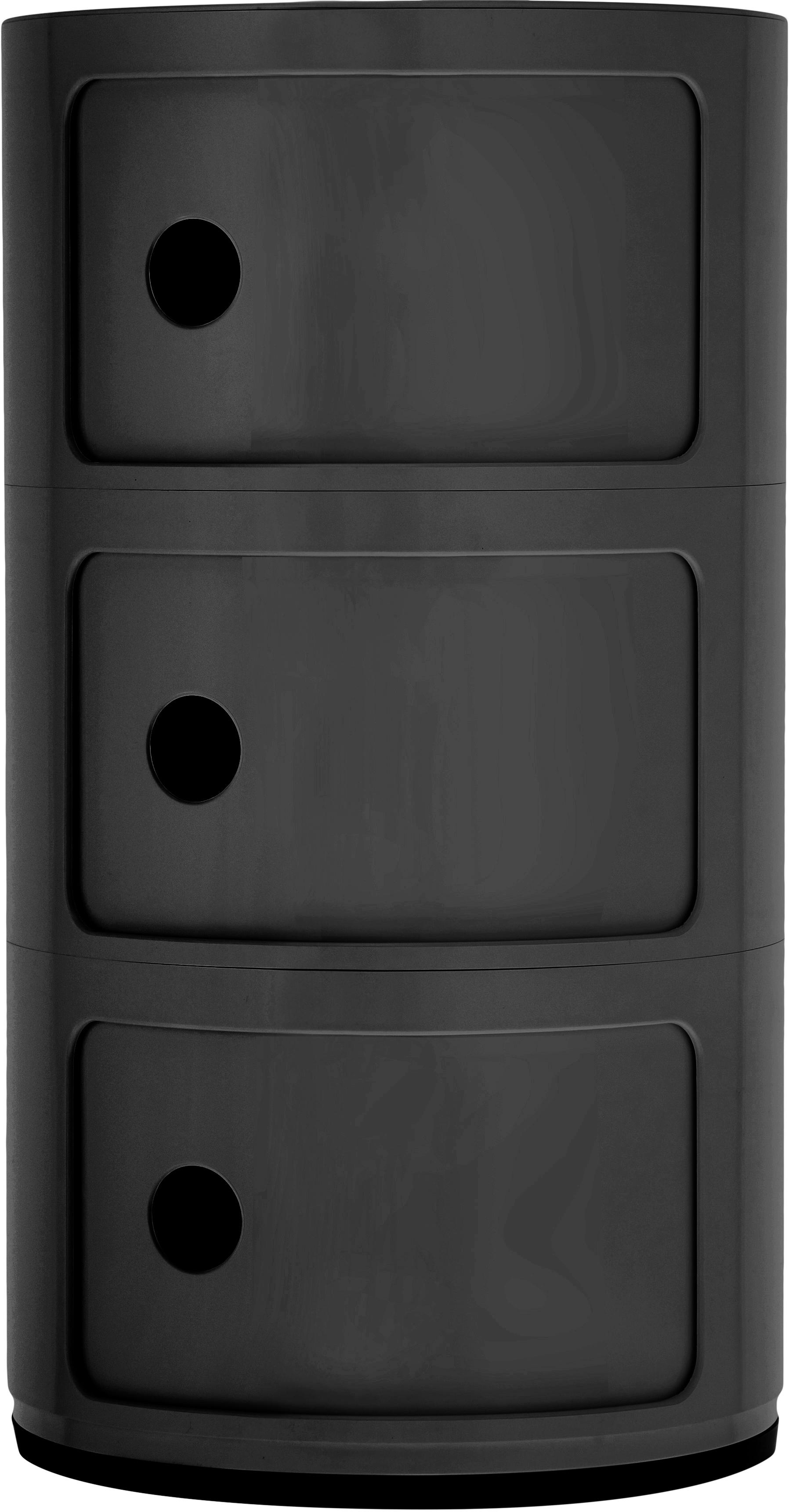 Mesa auxiliar de diseño Componibile, Plástico (ABS) pintado, Negro mate, Ø 32 x Al 59 cm