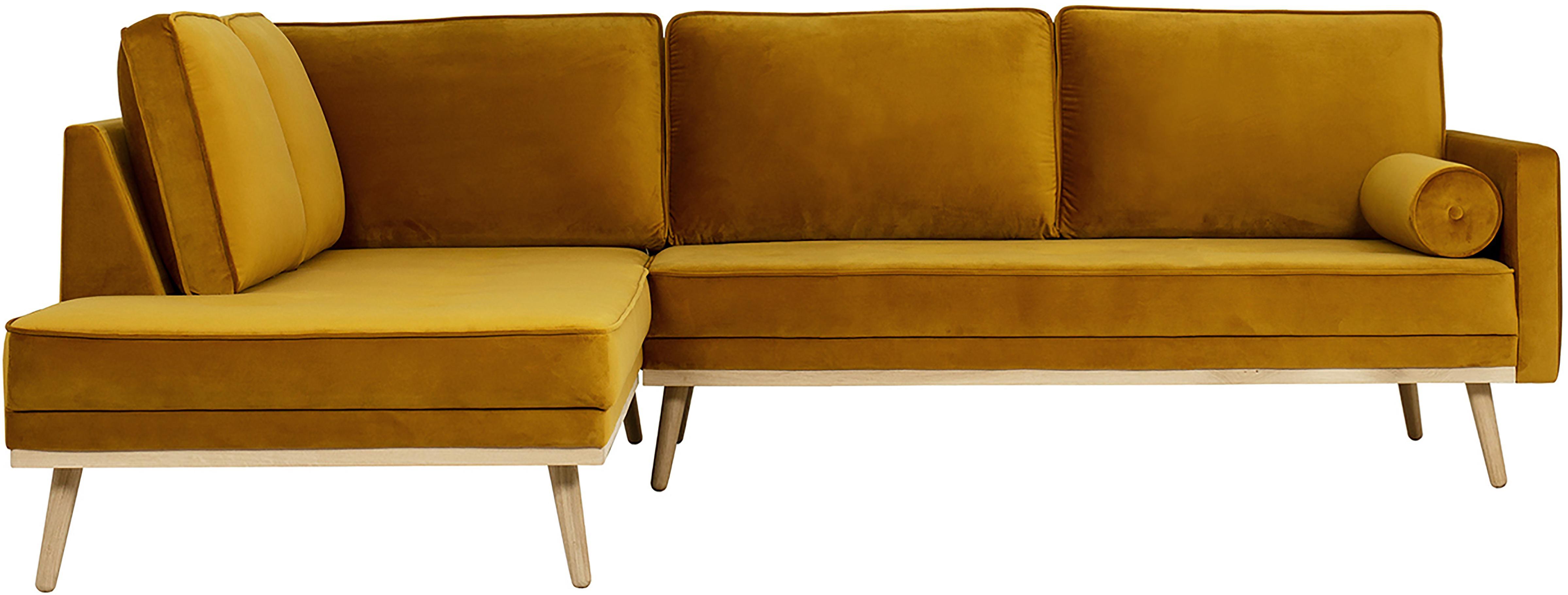 Divano angolare 3 posti in velluto giallo senape Saint, Rivestimento: velluto (poliestere) 35.0, Velluto giallo senape, Larg. 243 x Prof. 220 cm
