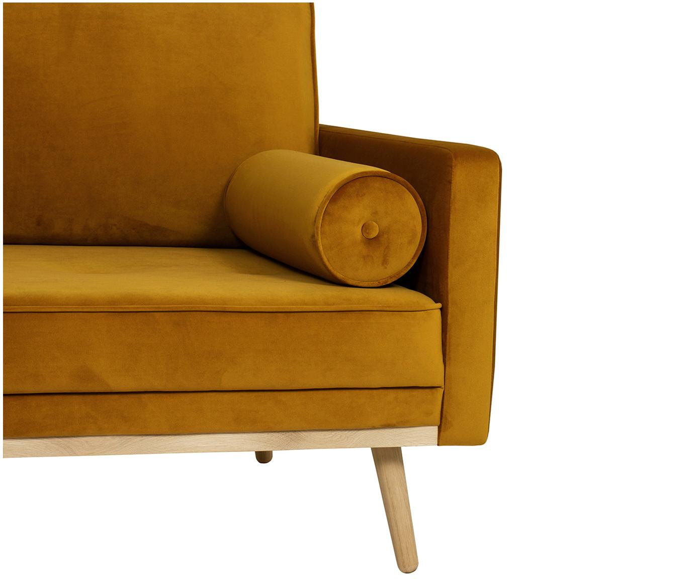 Fluwelen hoekbank Saint (3-zits), Bekleding: fluweel (polyester), Frame: massief eikenhout, spaanp, Okergeel, B 243 x D 220 cm