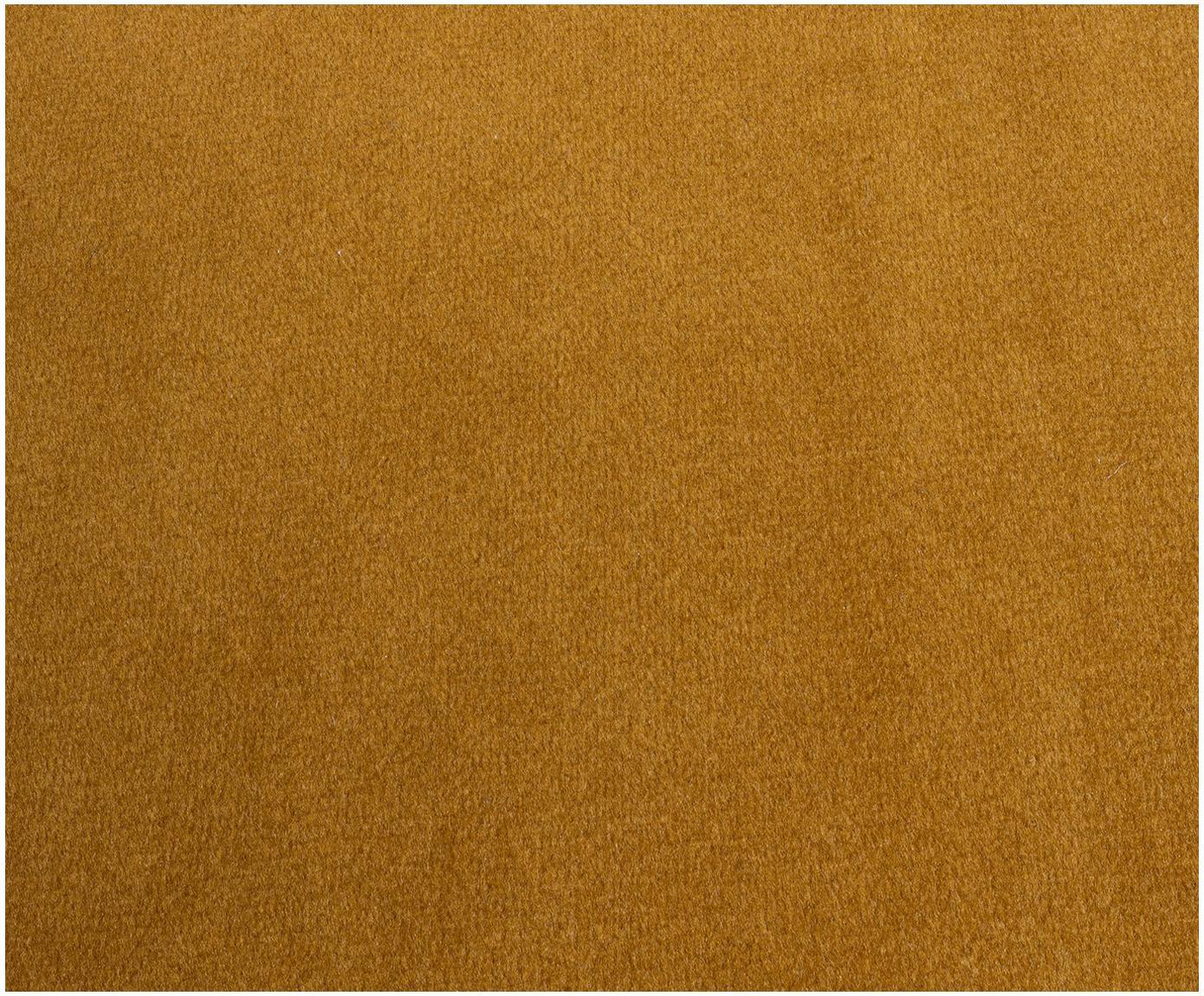 Sofa narożna z aksamitu Saint (3-osobowa), Tapicerka: aksamit (poliester) 3500, Stelaż: lite drewno dębowe, płyta, Musztardowy aksamit, S 243 x G 220 cm