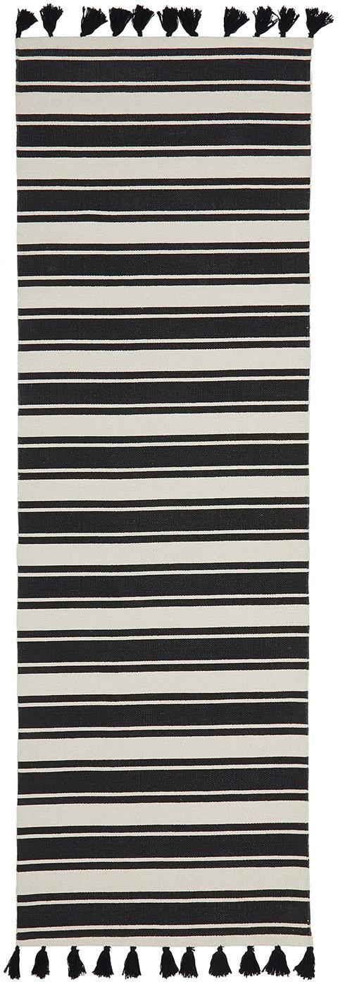 Chodnik z wełny w paski Vigga z chwostami, ręcznie tkany, Czarny, beżowy, S 80 x D 250 cm