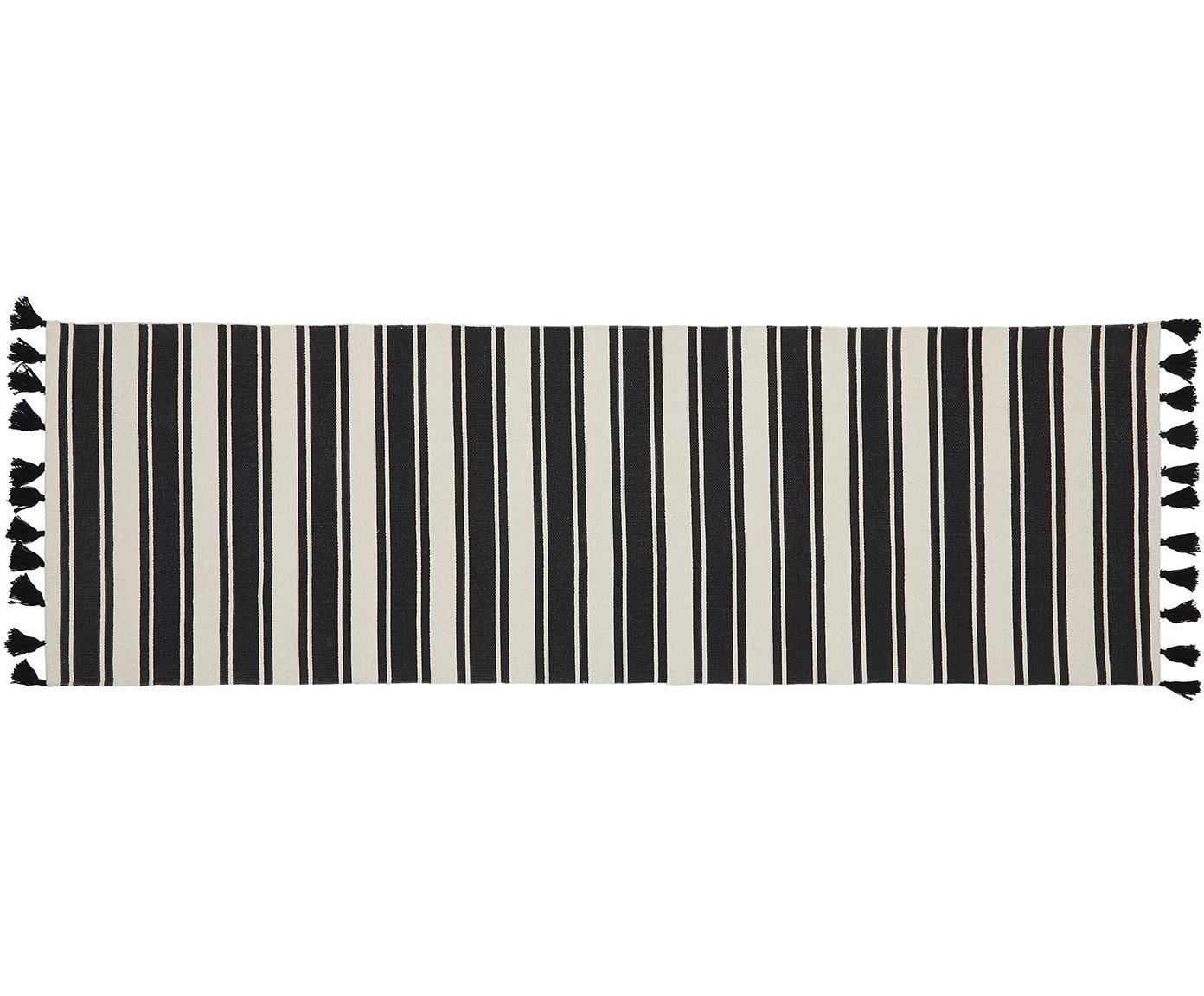Alfombra de algodón artesanal a rayas Vigga, Negro, beige, An 80 x L 250 cm